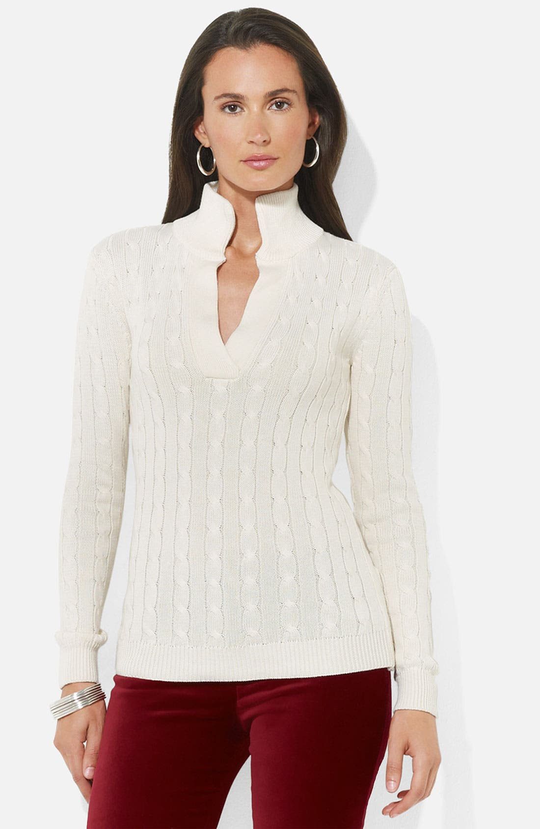 Main Image - Lauren Ralph Lauren Split Neck Cable Sweater (Petite)