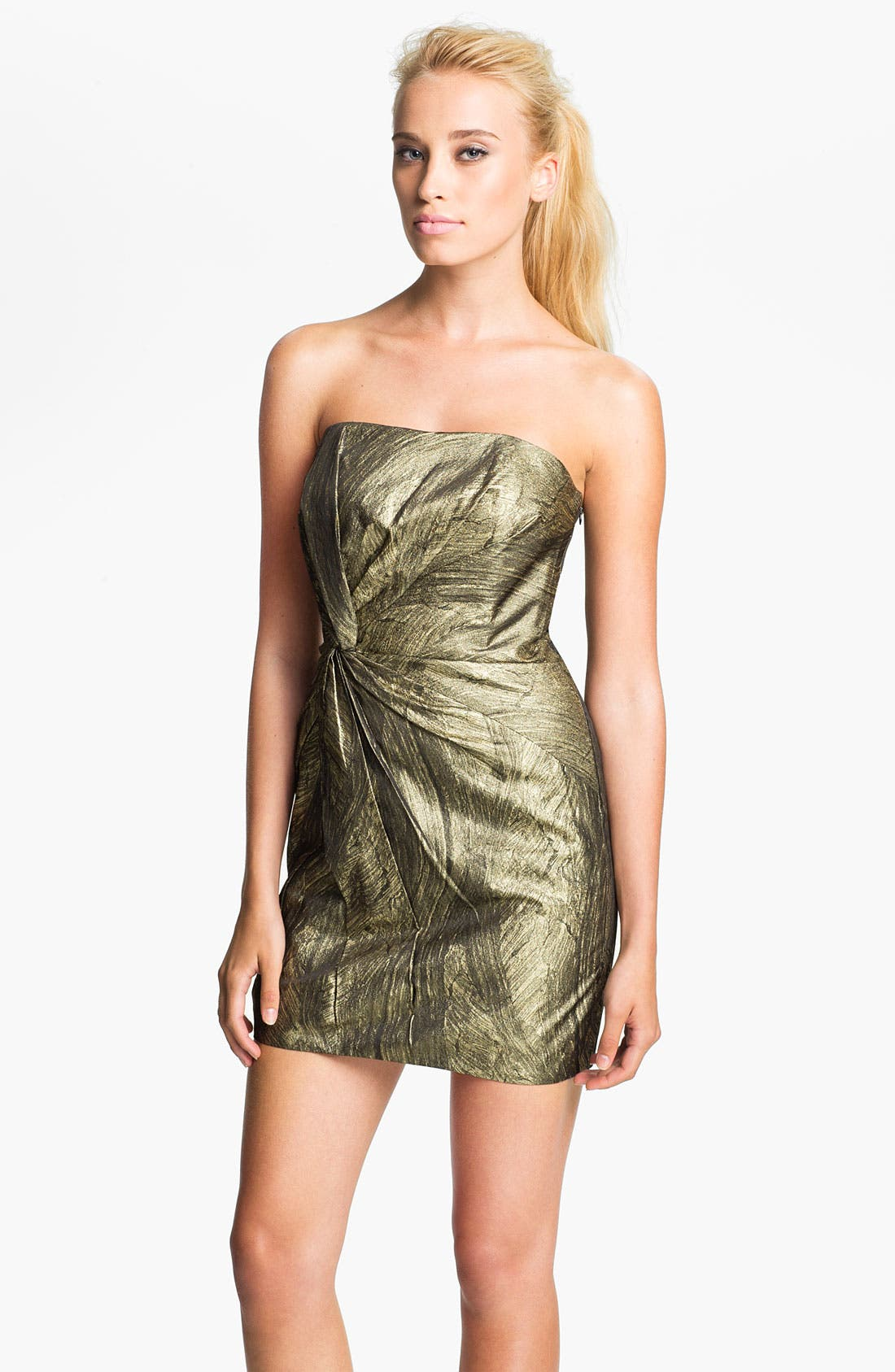 Alternate Image 1 Selected - Haute Hippie Metallic Twist Front Strapless Dress