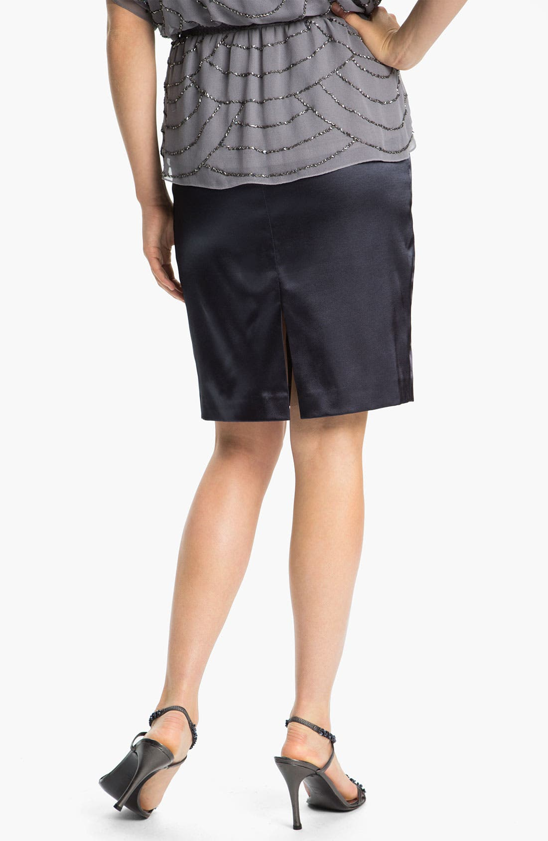 Alternate Image 2  - Adrianna Papell Stretch Charmeuse Pencil Skirt (Petite)