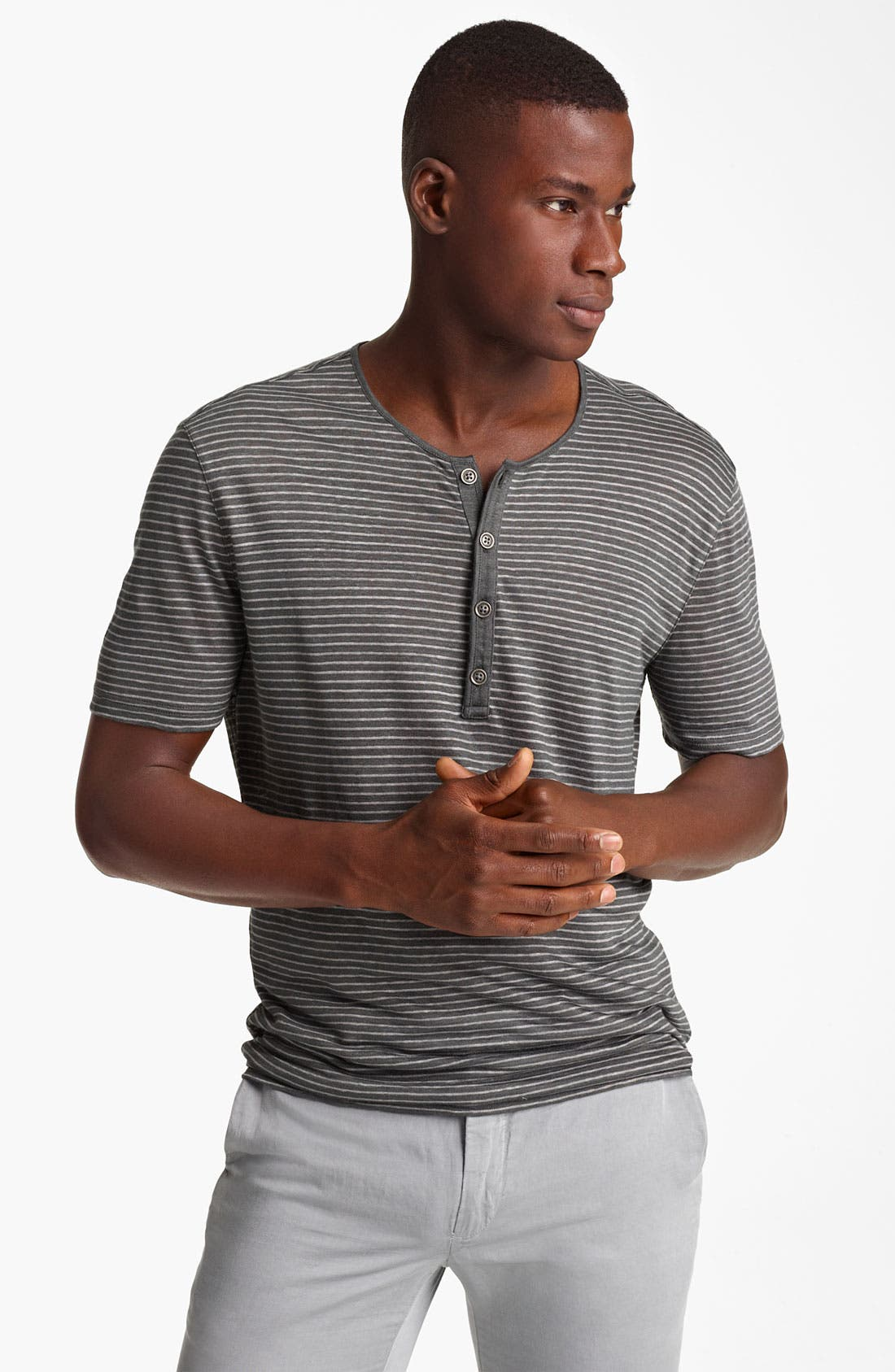 Main Image - John Varvatos Collection Stripe Henley T-Shirt
