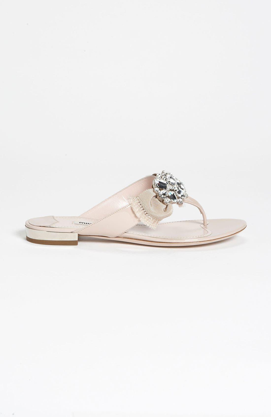 Alternate Image 4  - Miu Miu Crystal Bow Thong Sandal