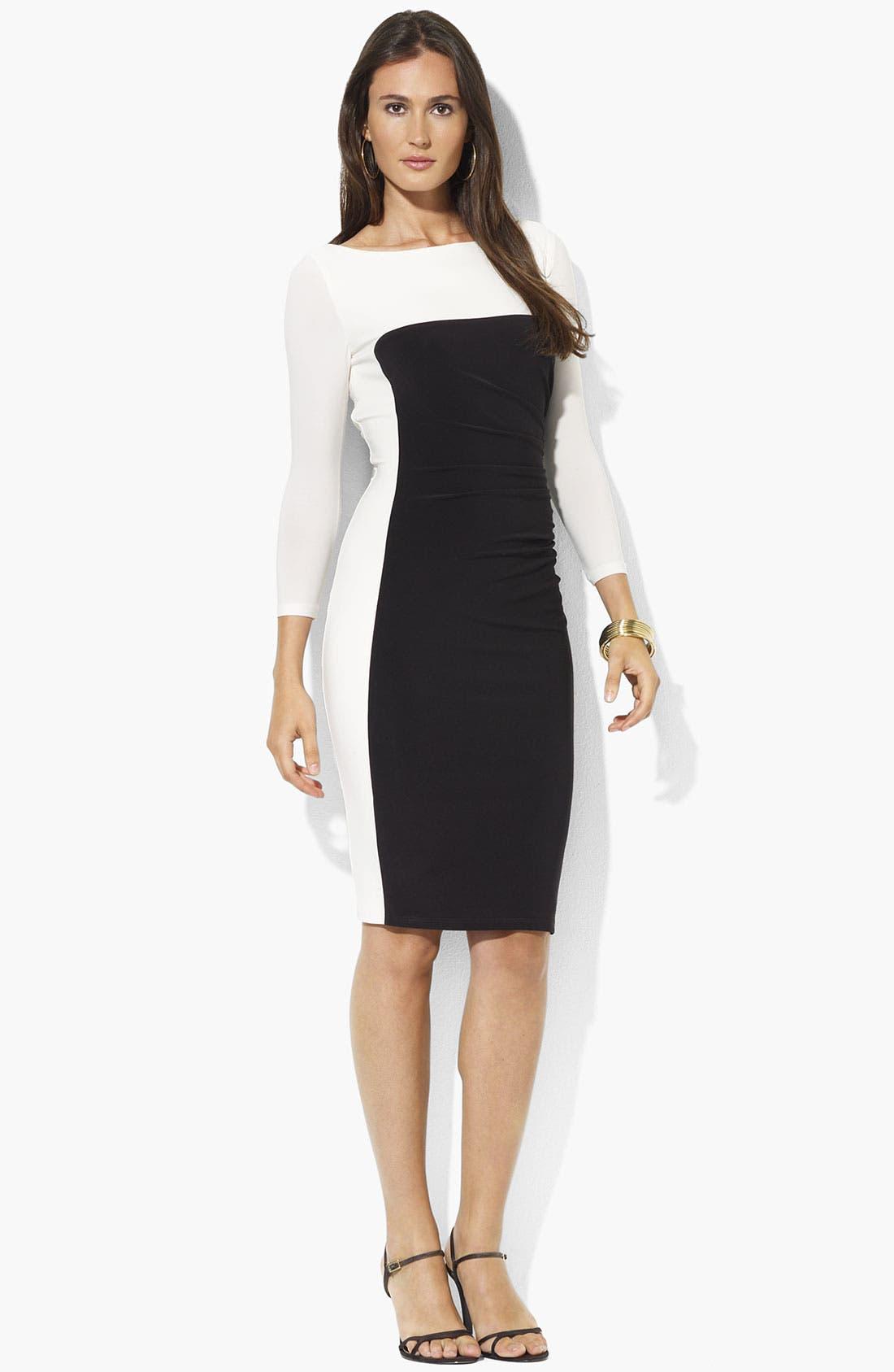 Main Image - Lauren Ralph Lauren Colorblock Jersey Sheath Dress