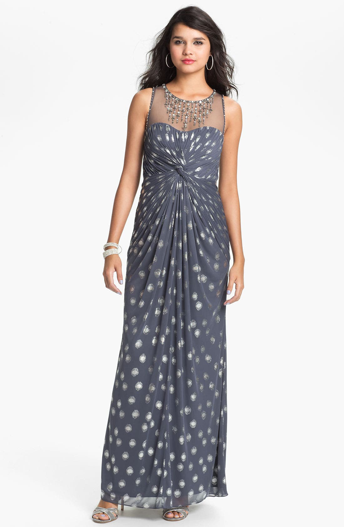 Main Image - Adrianna Papell Jeweled Illusion Yoke Mesh Gown