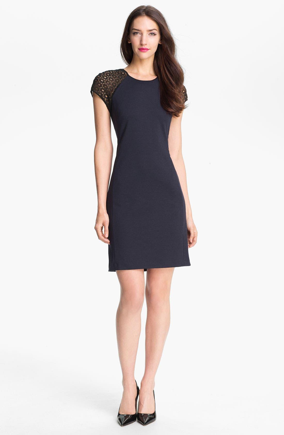 Alternate Image 1 Selected - Rebecca Taylor Ponte Knit Sheath Dress