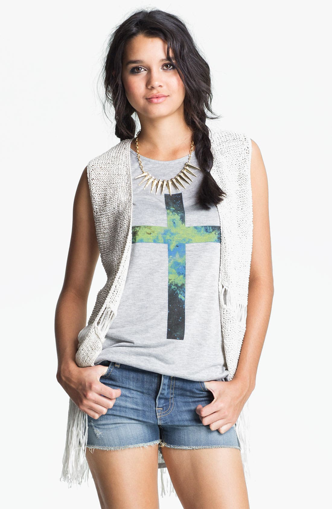 Alternate Image 1 Selected - Absolutely Cotton Knit Fringe Vest (Juniors)