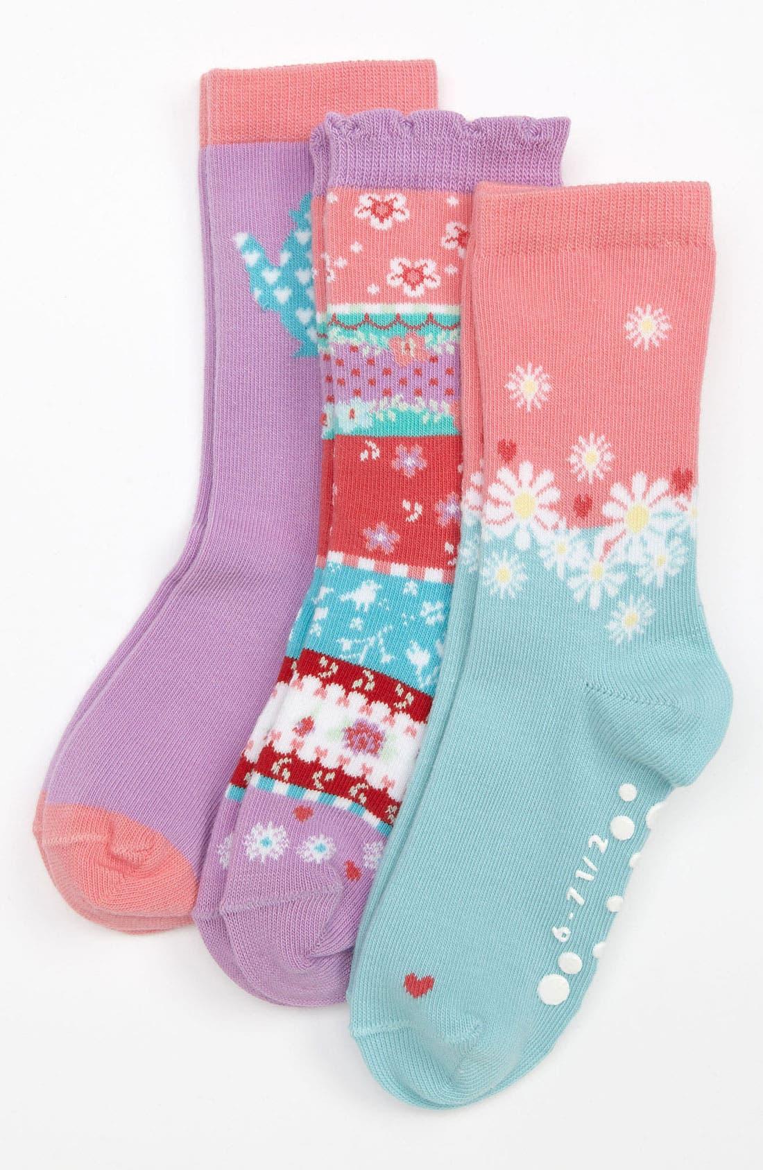 Main Image - Nordstrom 'Cucumber Sandwich' Crew Socks (3-Pack) (Toddler & Little Girls)