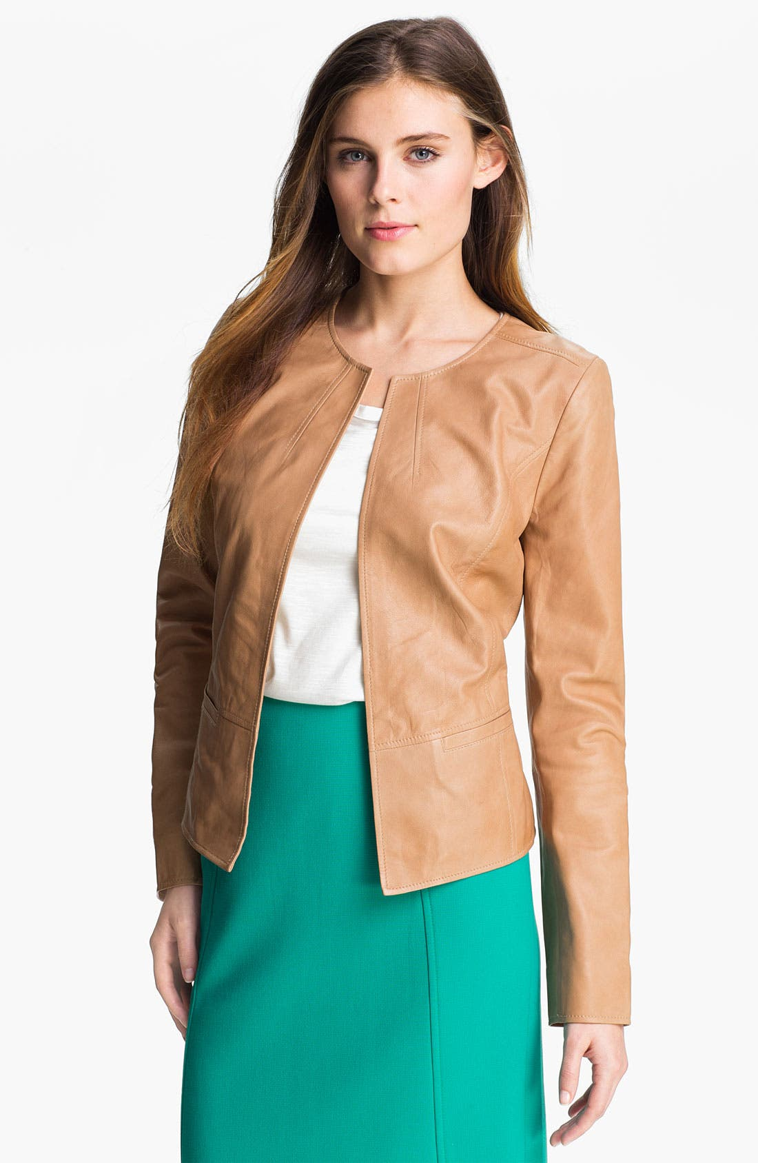 Alternate Image 1 Selected - Halogen® Open Front Leather Jacket