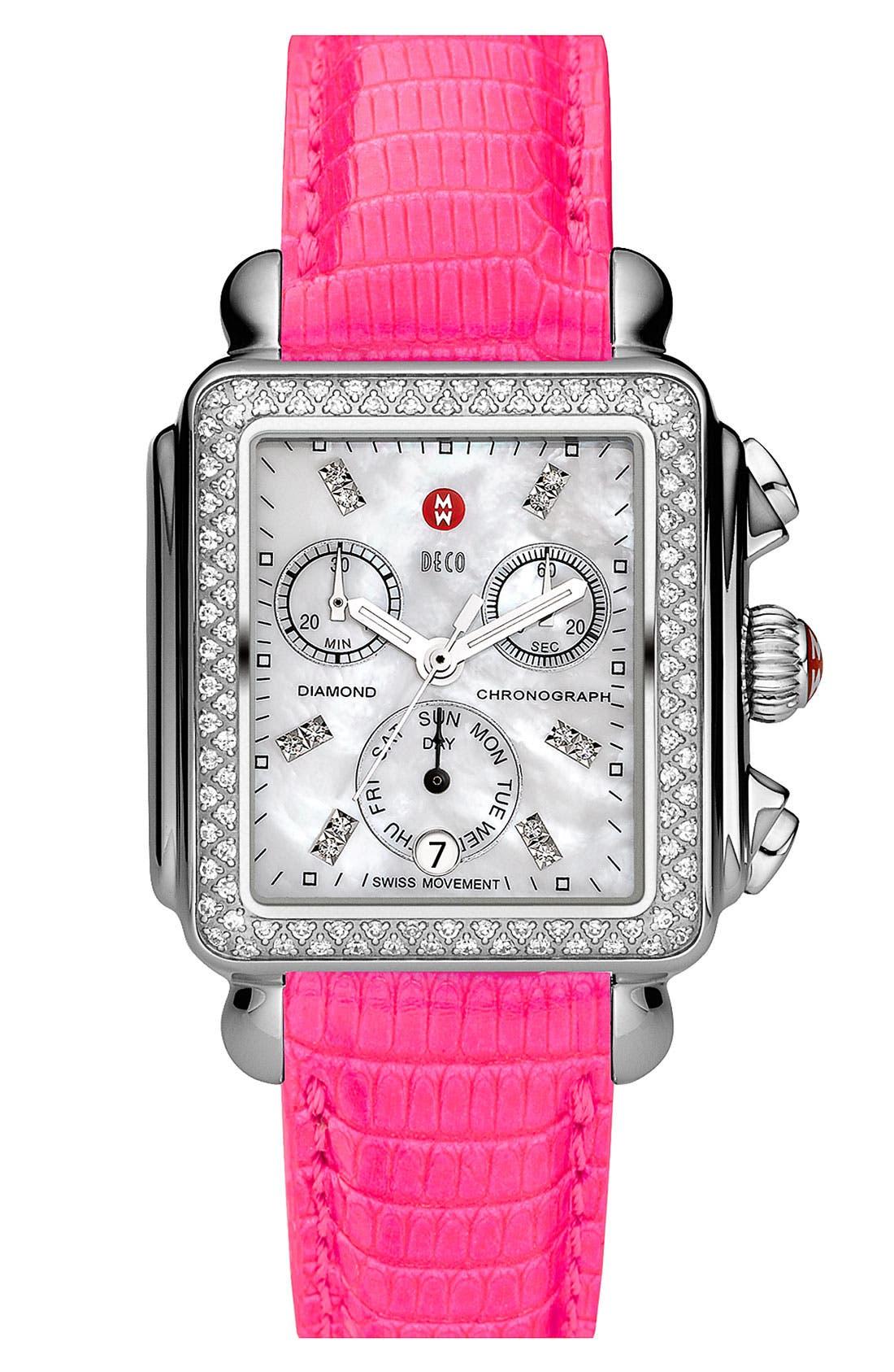 Alternate Image 2  - MICHELE 'Deco Diamond' Diamond Dial Customizable Watch
