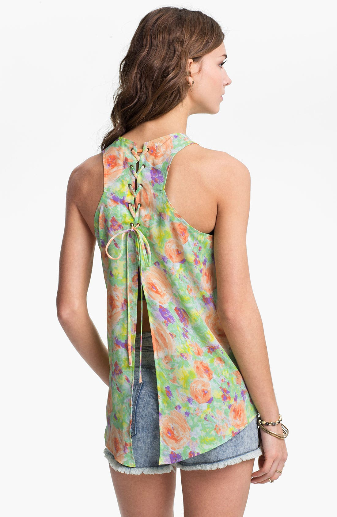 Main Image - Lush Lace-Up Back Floral Tank (Juniors)