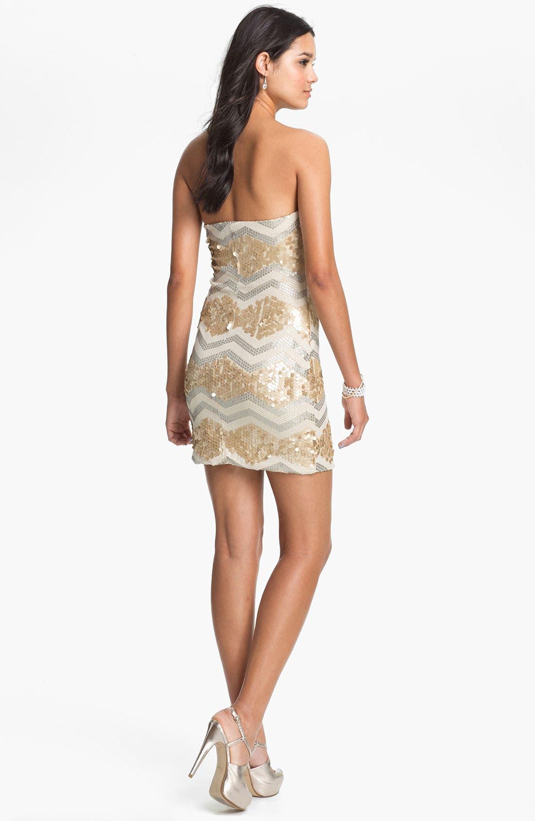 Alternate Image 2  - As U Wish Zigzag Sequin Strapless Dress (Juniors)