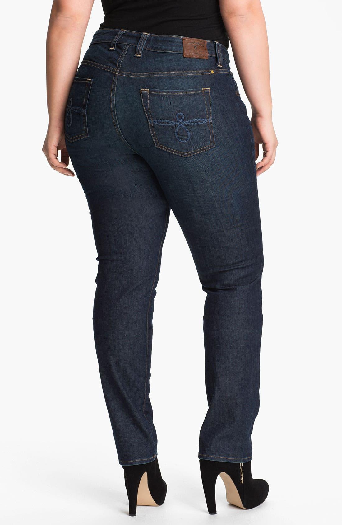 Alternate Image 2  - Lucky Brand 'Ginger' Straight Denim Jeans (Plus Size)