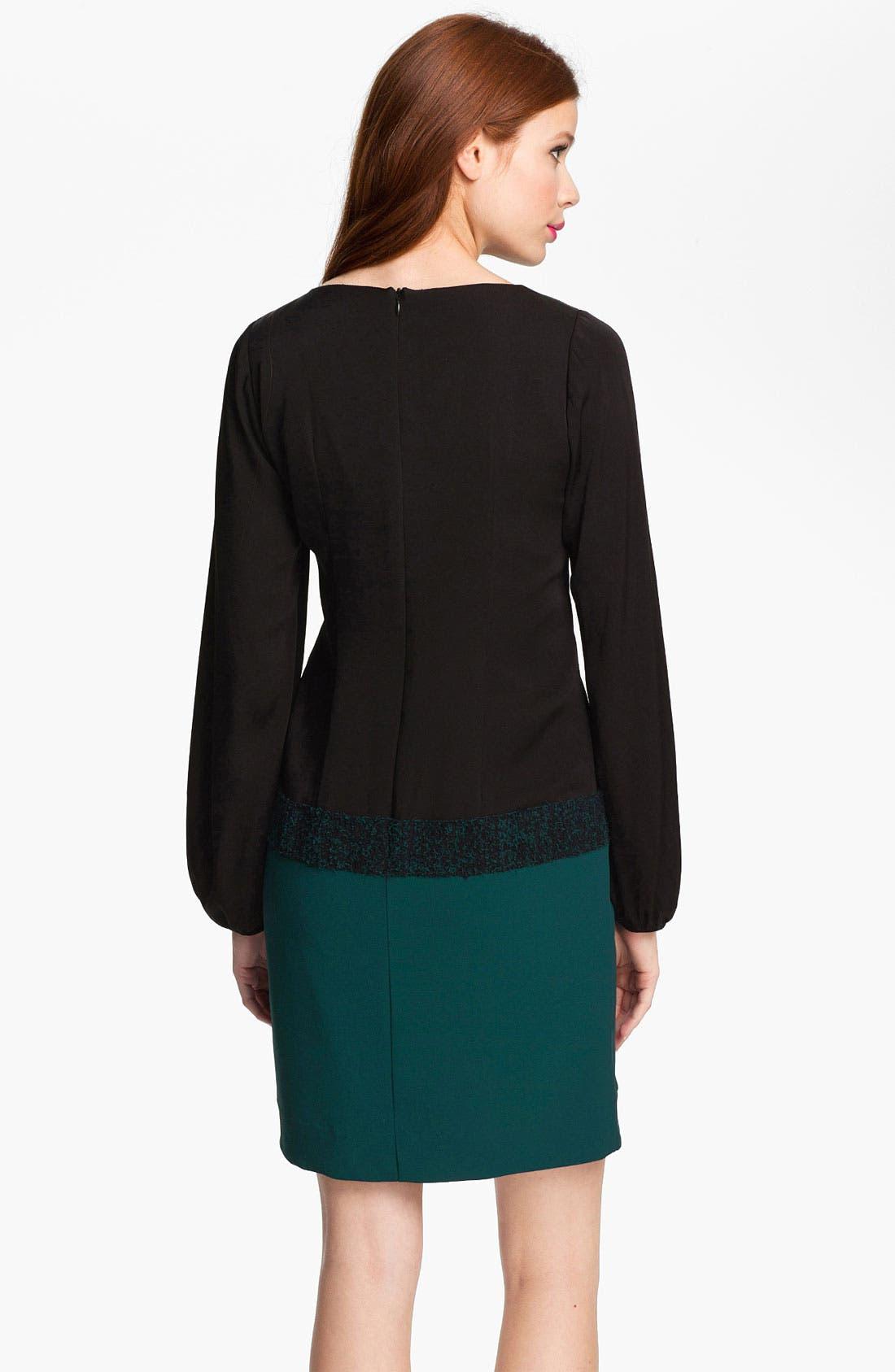 Alternate Image 2  - Nicole Miller Blouson Sleeve Colorblock Crepe Dress