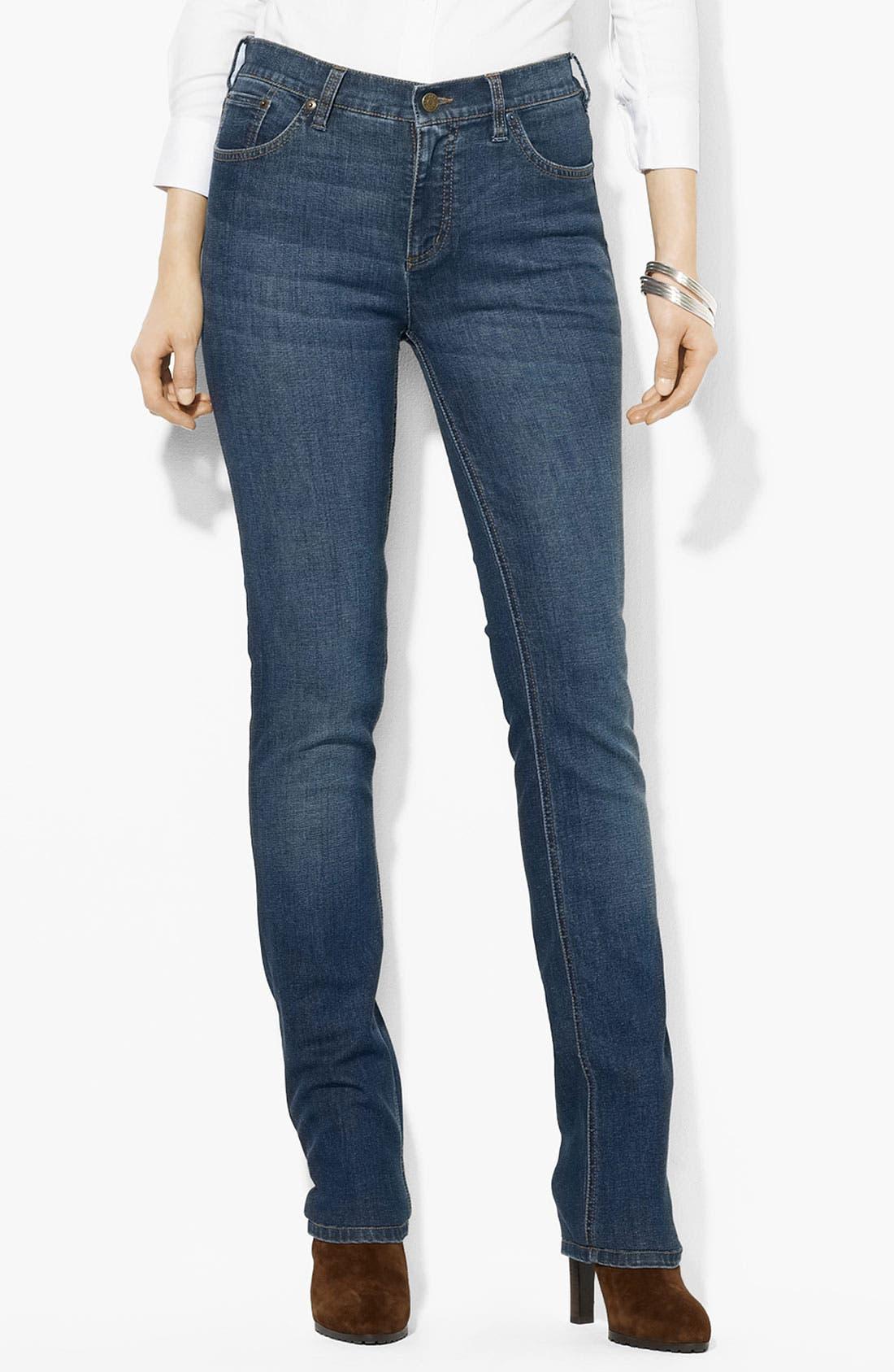 Main Image - Lauren Ralph Lauren Slimming Straight Leg Jeans (Petite) (Online Only)
