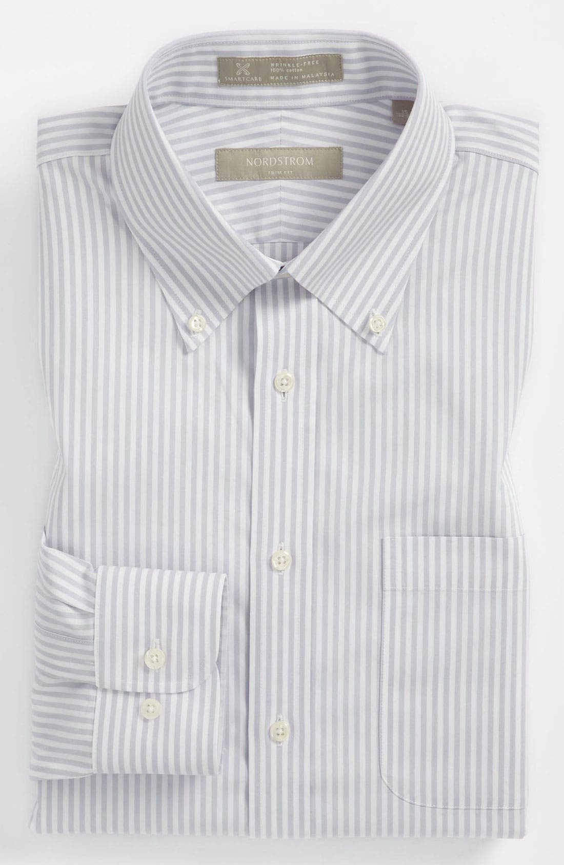 Main Image - Nordstrom Men's Shop Smartcare™ Wrinkle Free Trim Fit Stripe Dress Shirt