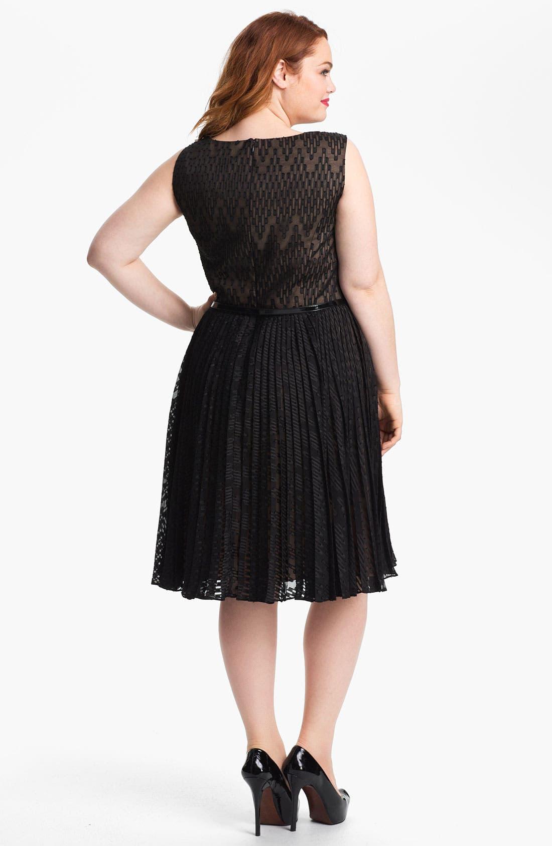 Alternate Image 2  - Adrianna Papell Burnout Sleeveless Dress (Plus)