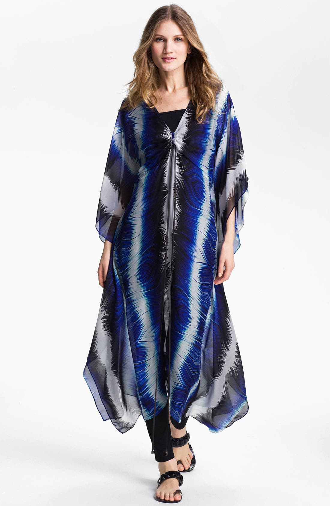 Main Image - Alberto Makali Feather Print Silk Caftan