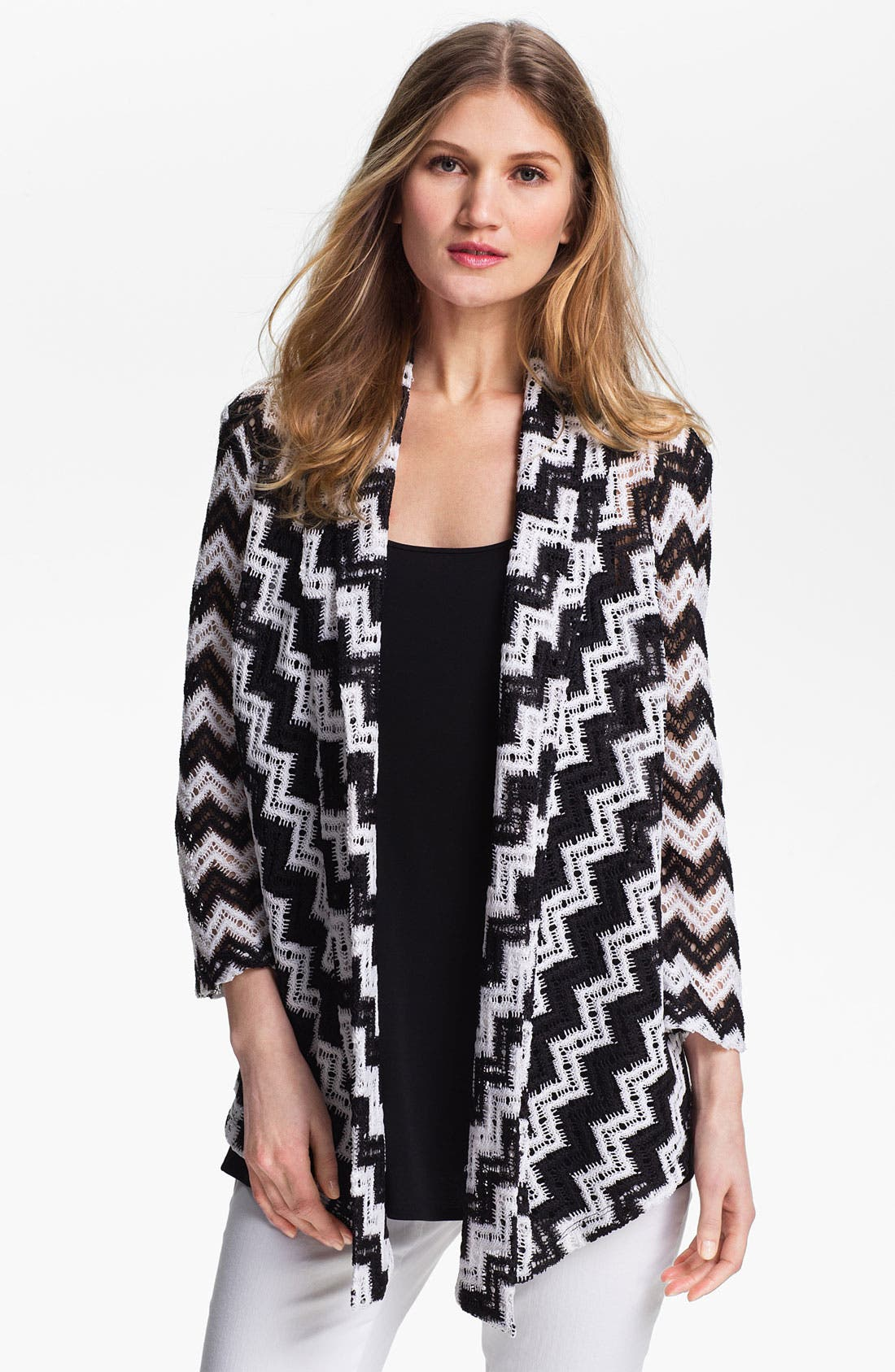 Alternate Image 1 Selected - Alberto Makali Crochet Back Zigzag Cardigan