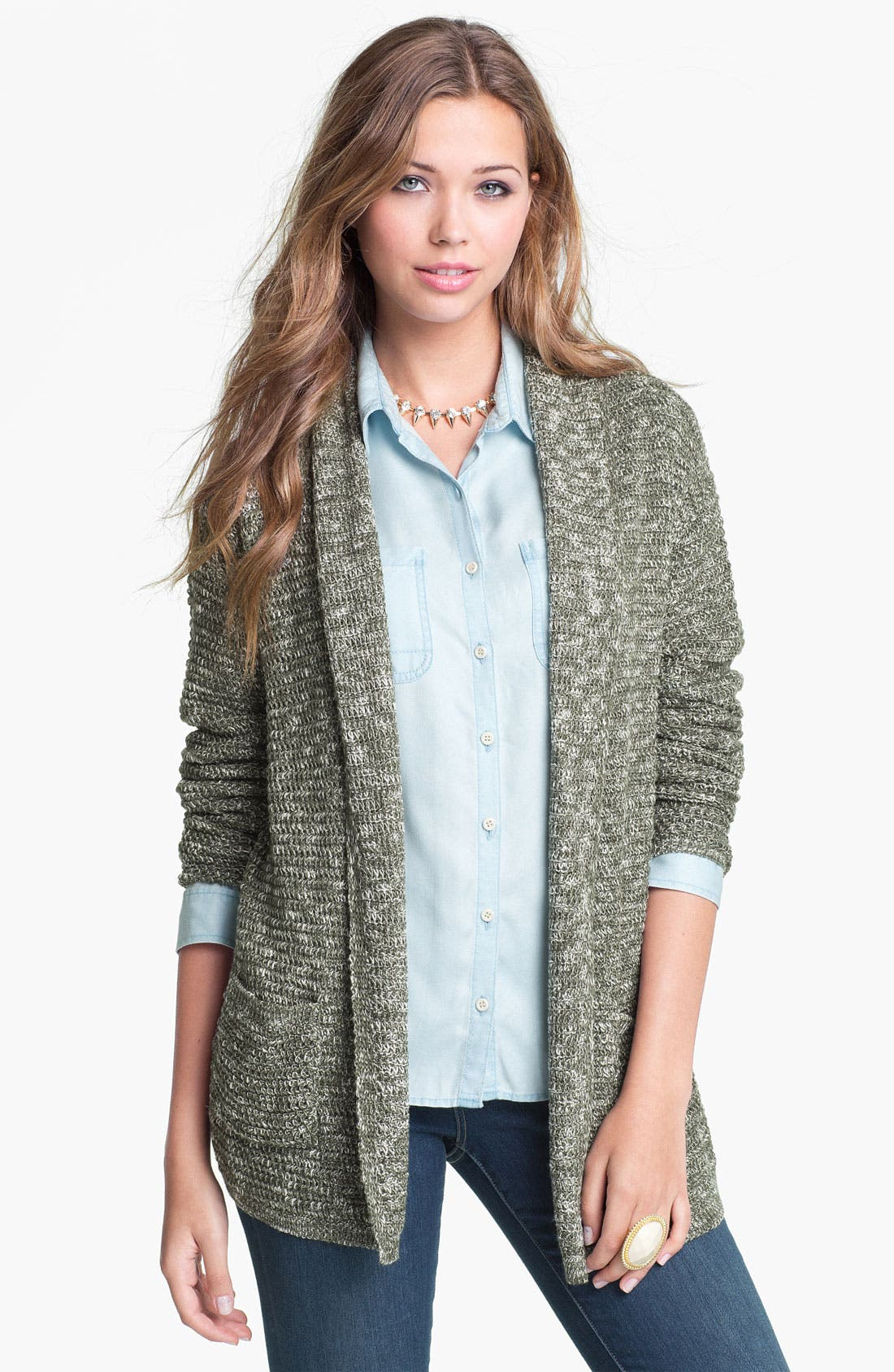 Main Image - Cotton Emporium Marled Cardigan (Juniors)