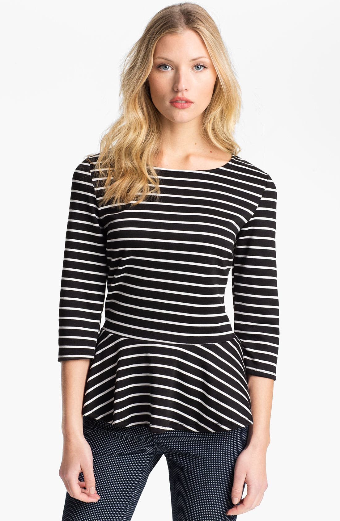 Alternate Image 1 Selected - Bobeau Stripe Peplum Top