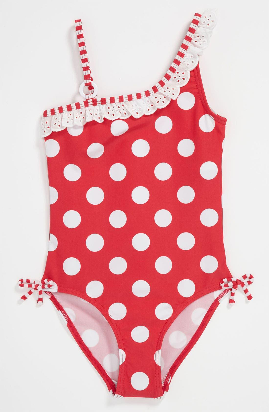 Main Image - Pumpkin Patch Polka Dot Swimsuit (Little Girls & Big Girls)