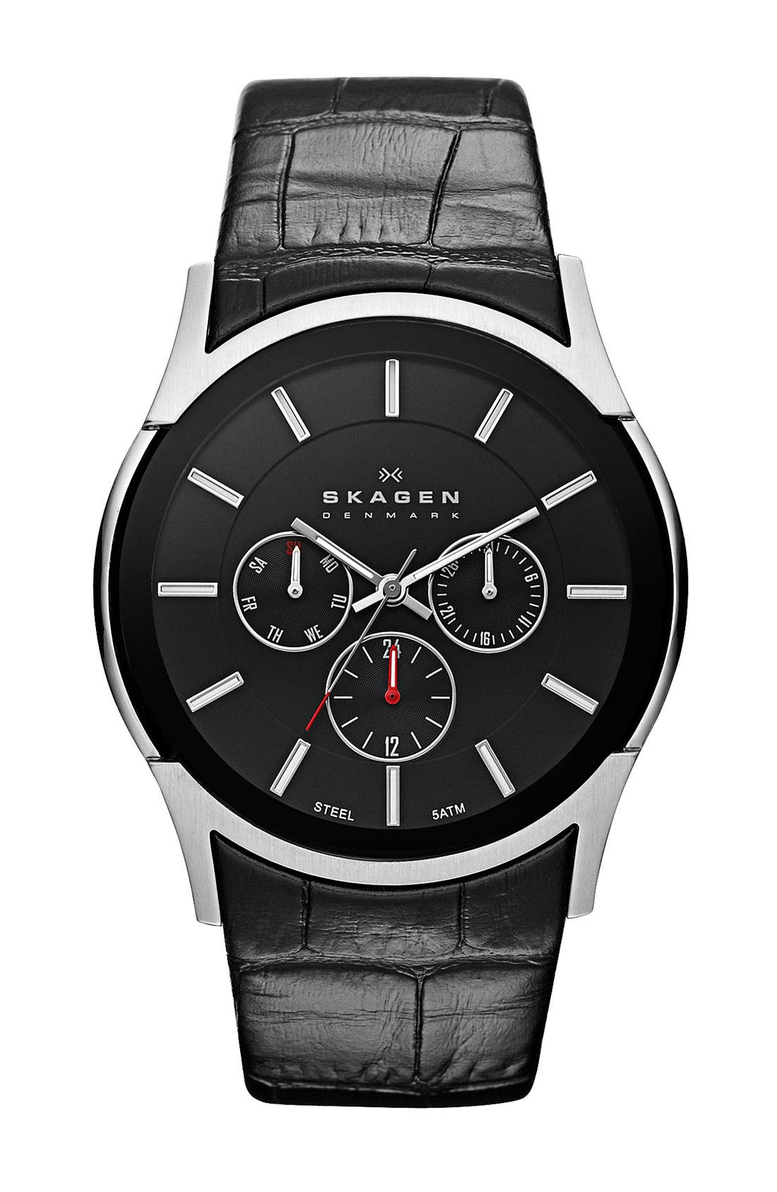 Main Image - Skagen Round Leather Strap Watch. 40mm