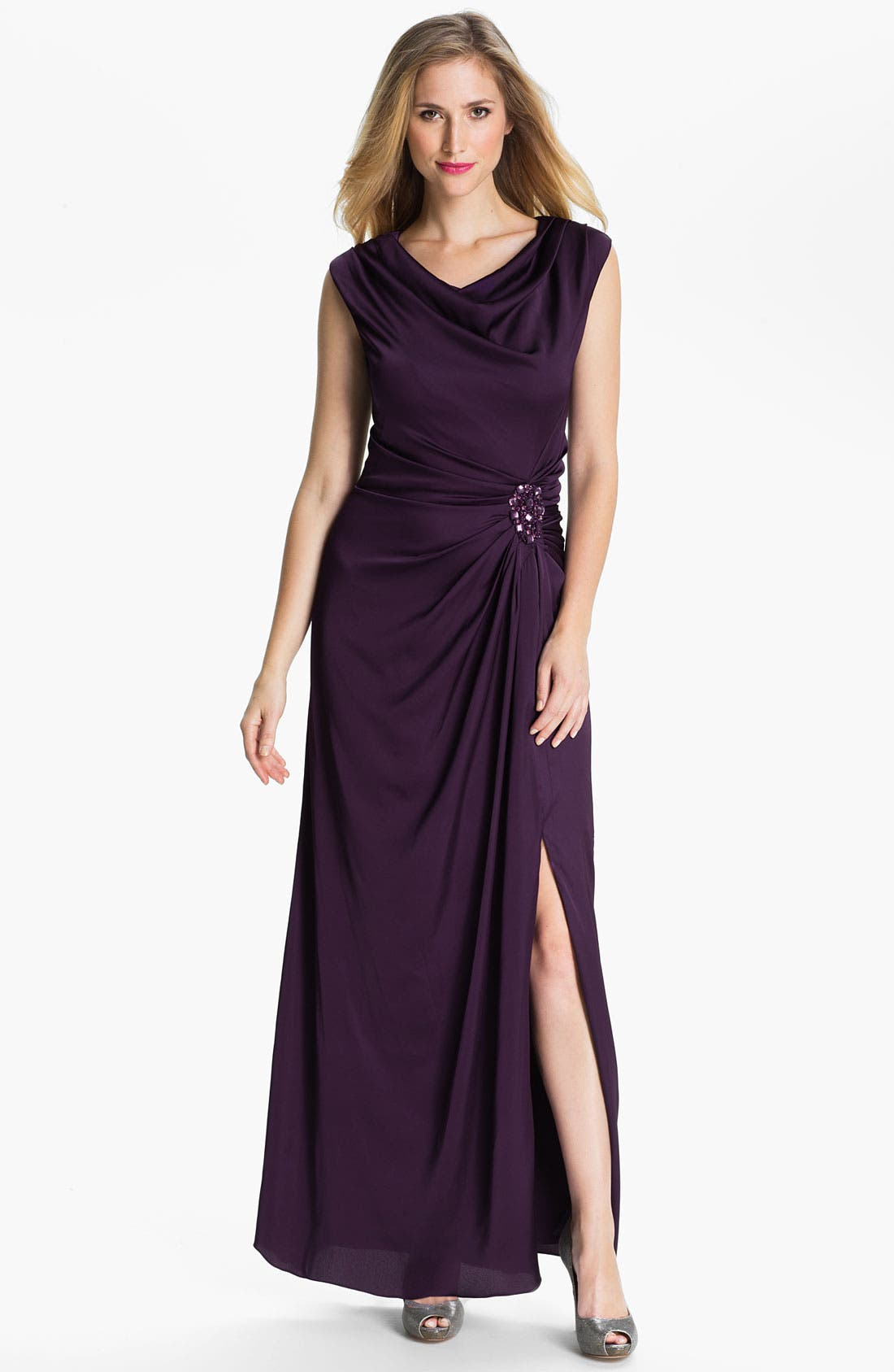 Main Image - Patra Cowl Neck Side Slit Satin Gown (Petite)