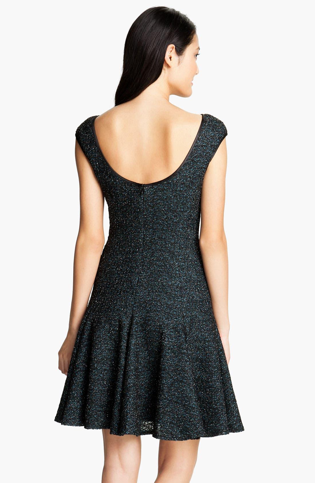 Alternate Image 2  - Maggy London Scoop Back Metallic Fit & Flare Dress (Petite)