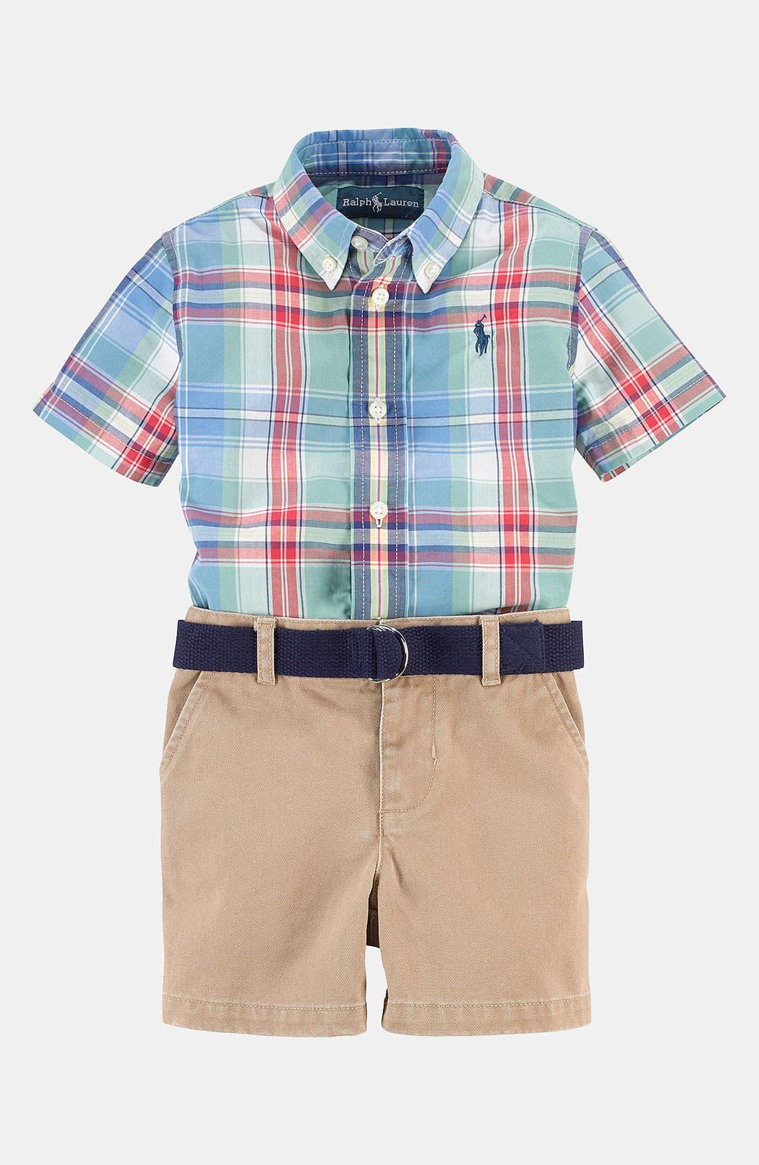 Alternate Image 2  - Ralph Lauren Shirt & Shorts (Baby)