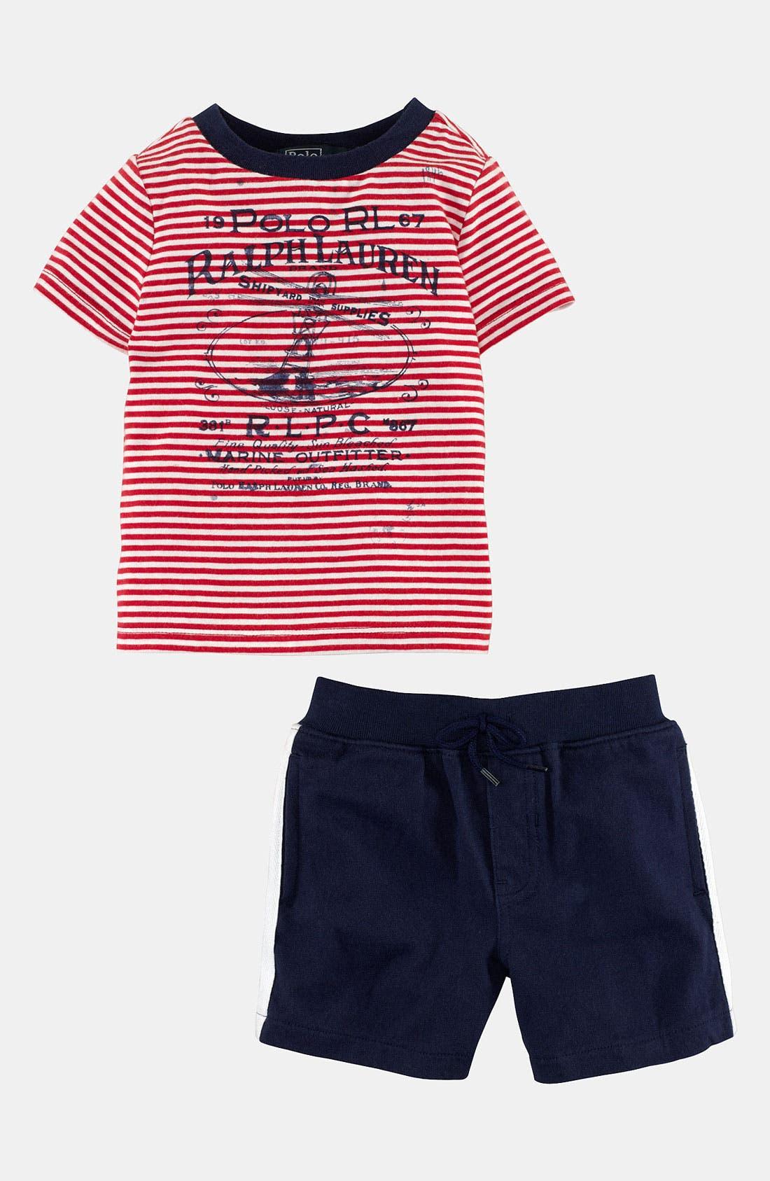 Alternate Image 1 Selected - Ralph Lauren T-Shirt & Shorts (Baby)