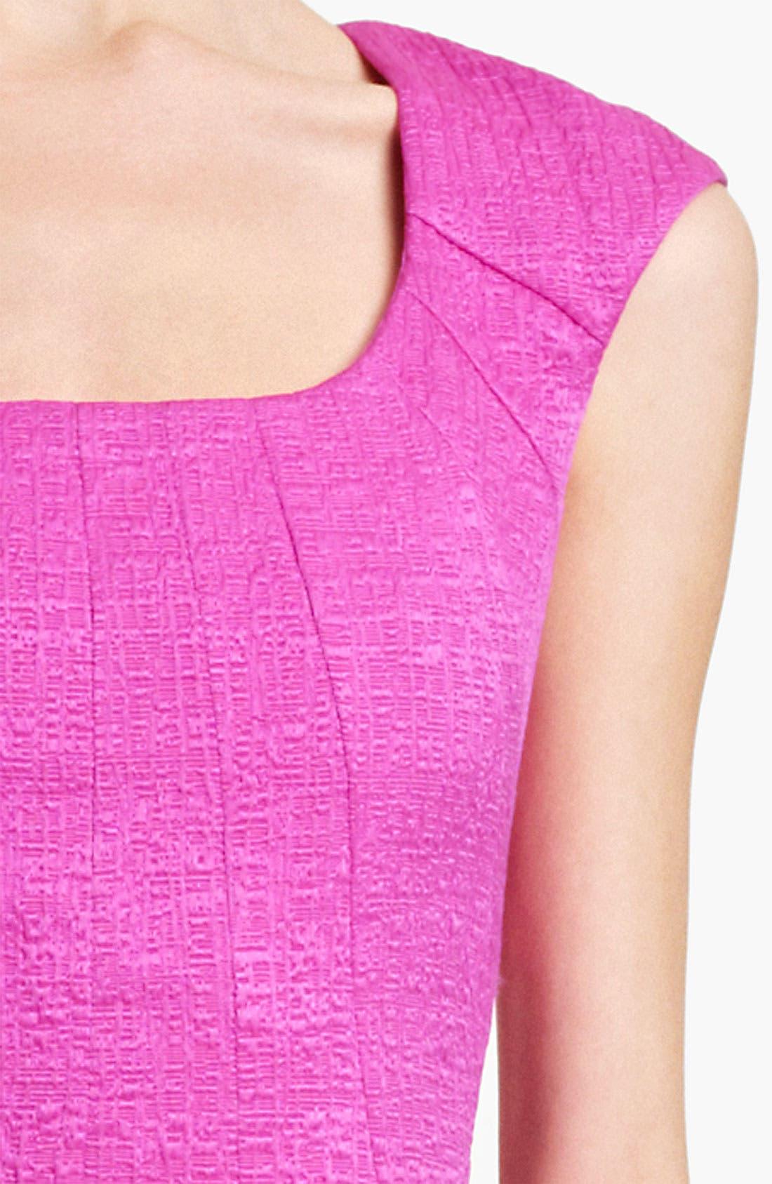 Alternate Image 3  - Oscar de la Renta Belted Crimped Cotton & Silk Dress