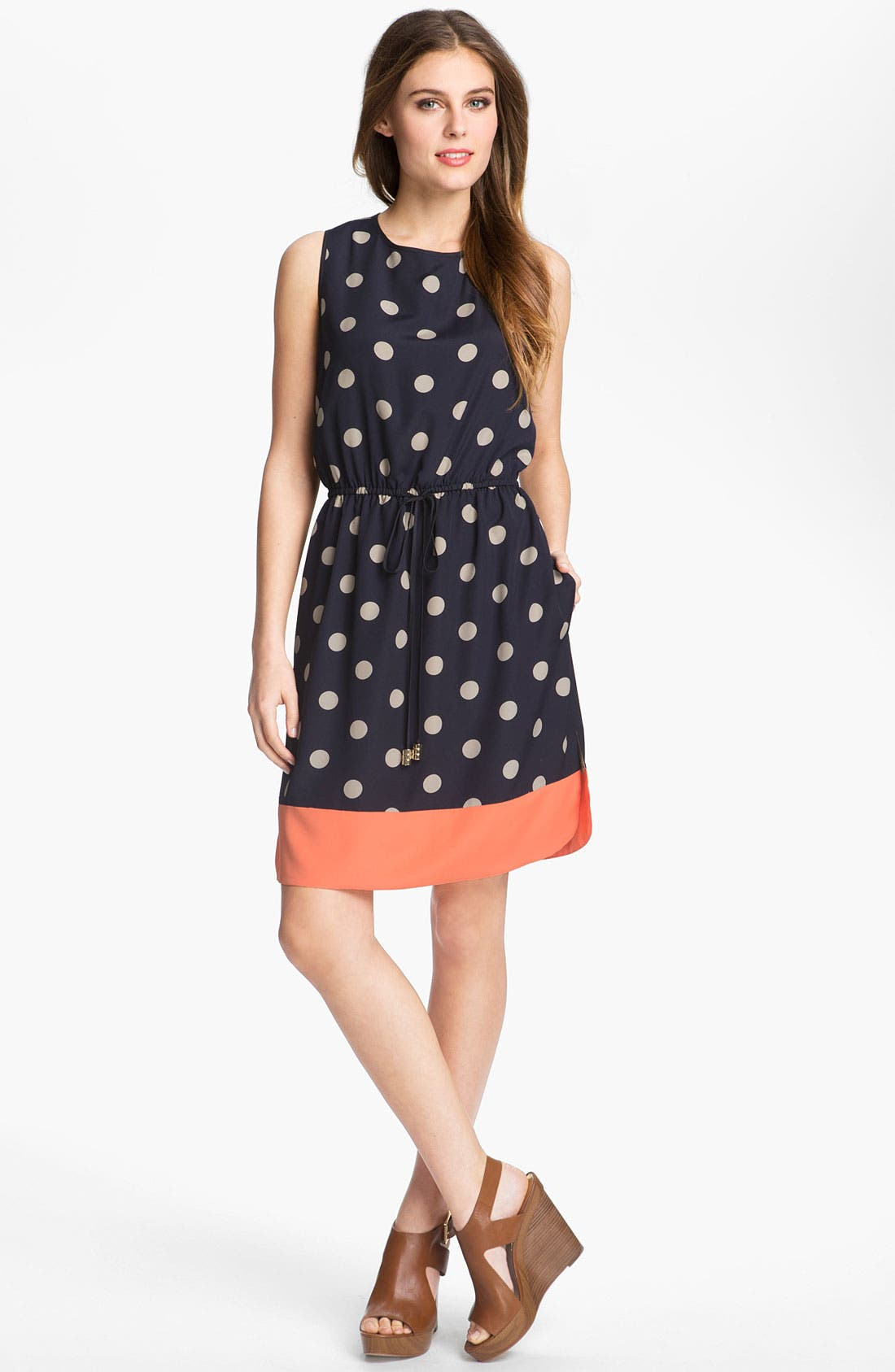 Main Image - Eliza J Sleeveless Polka Dot Dress