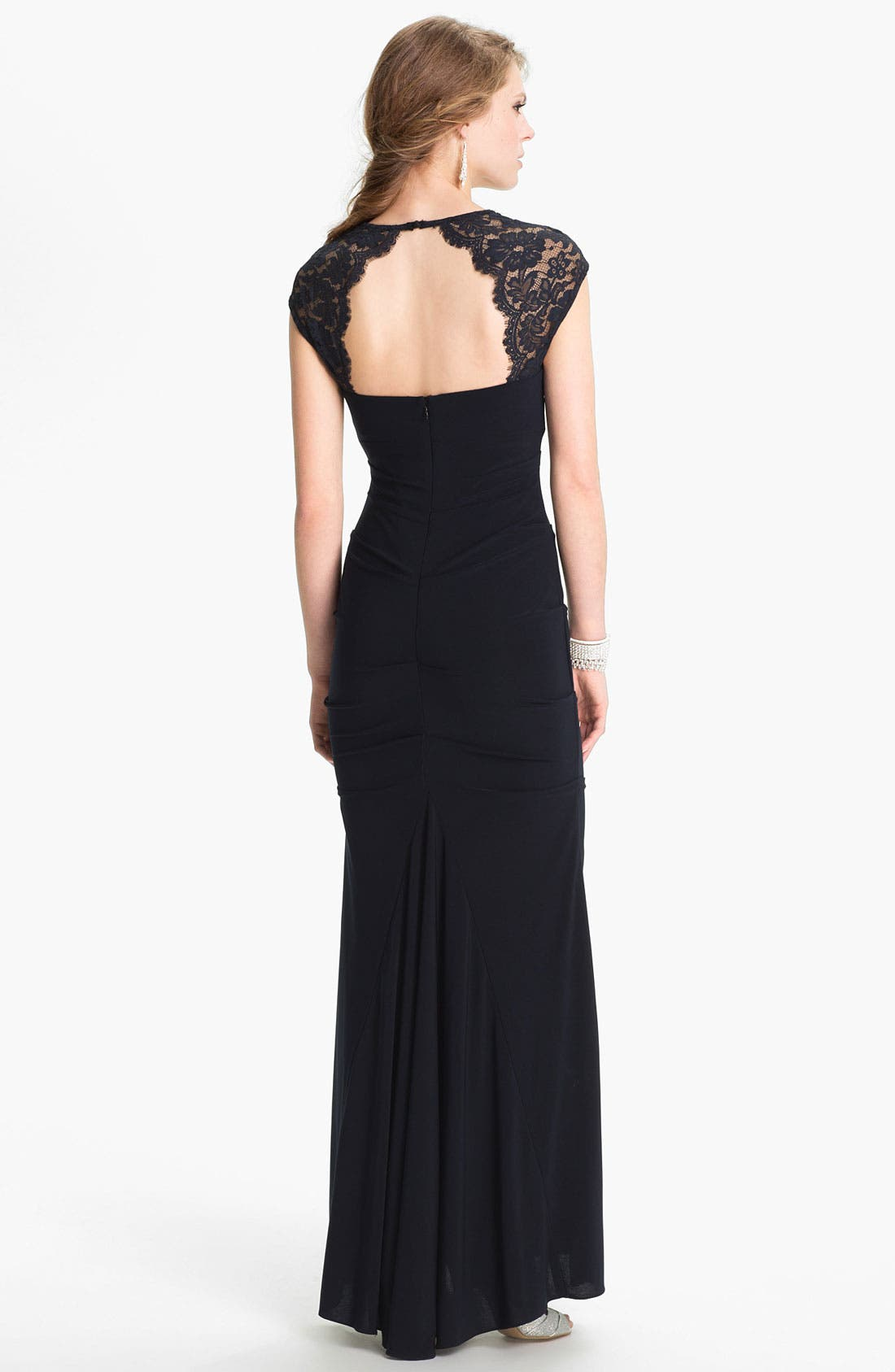Alternate Image 2  - Xscape Lace Cap Sleeve Jersey Gown