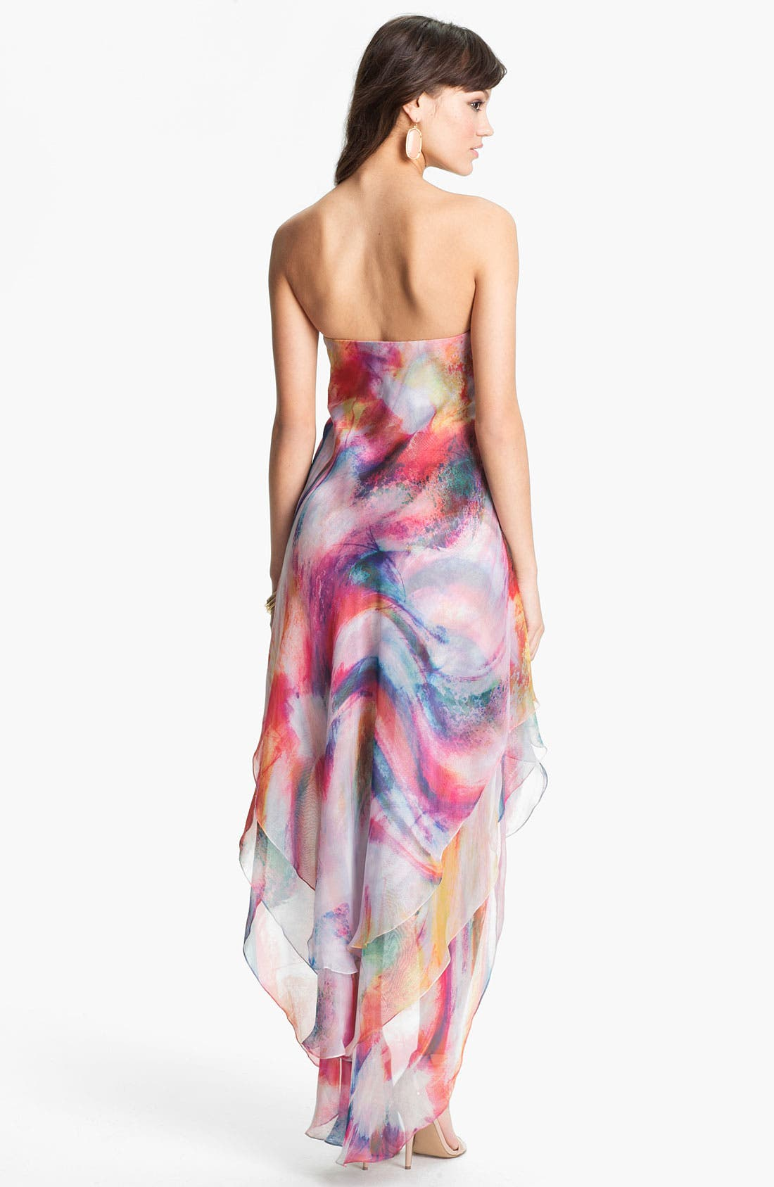 Alternate Image 2  - La Femme Print Strapless High/Low Gown