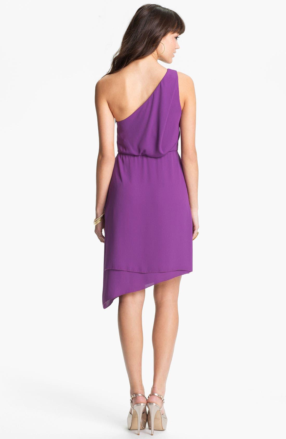 Alternate Image 2  - BCBGMAXAZRIA One Shoulder Asymmetrical Chiffon Dress
