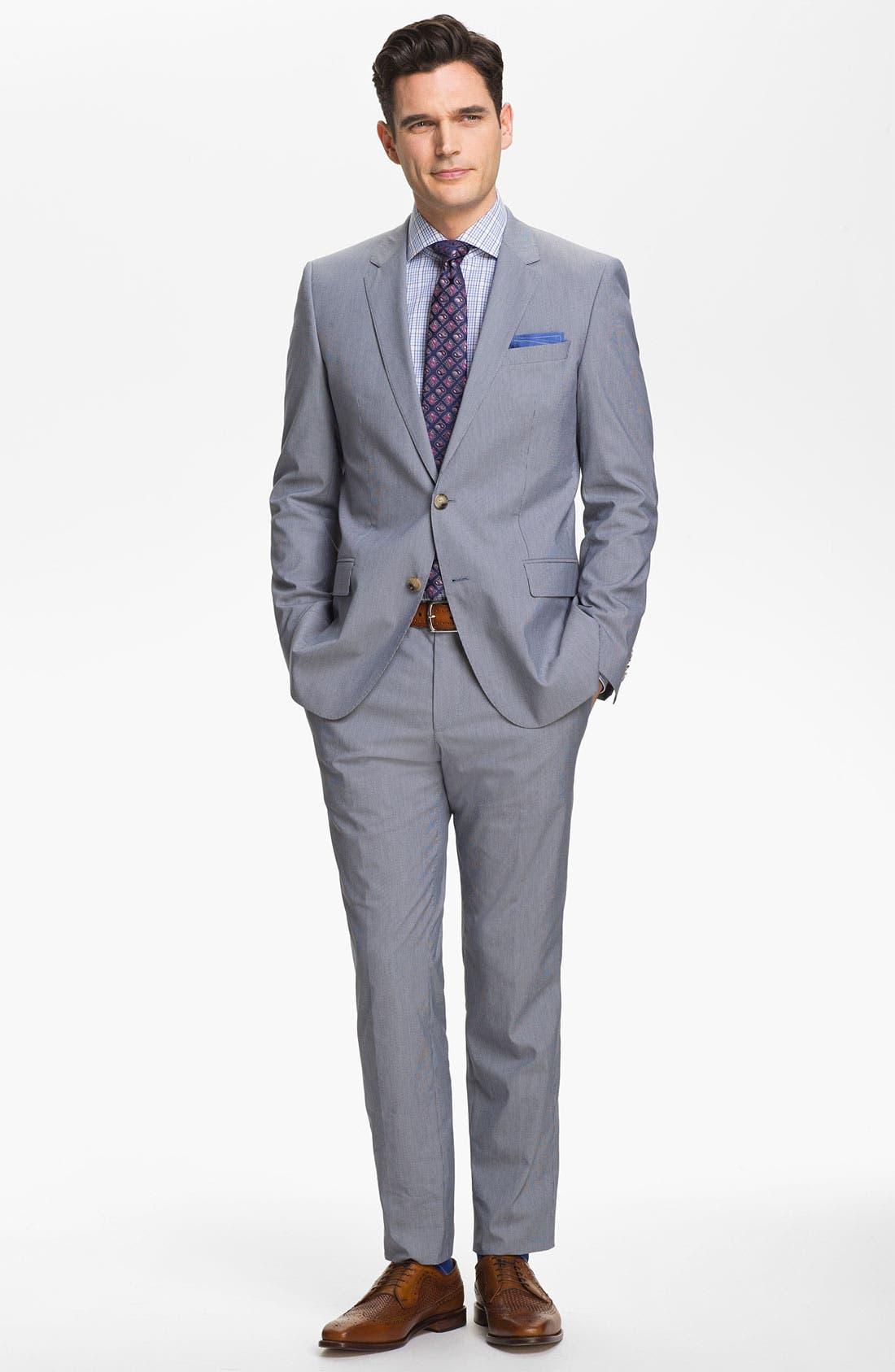 Alternate Image 2  - BOSS Black 'Huge/Genius' Trim Fit Cotton Blend Suit