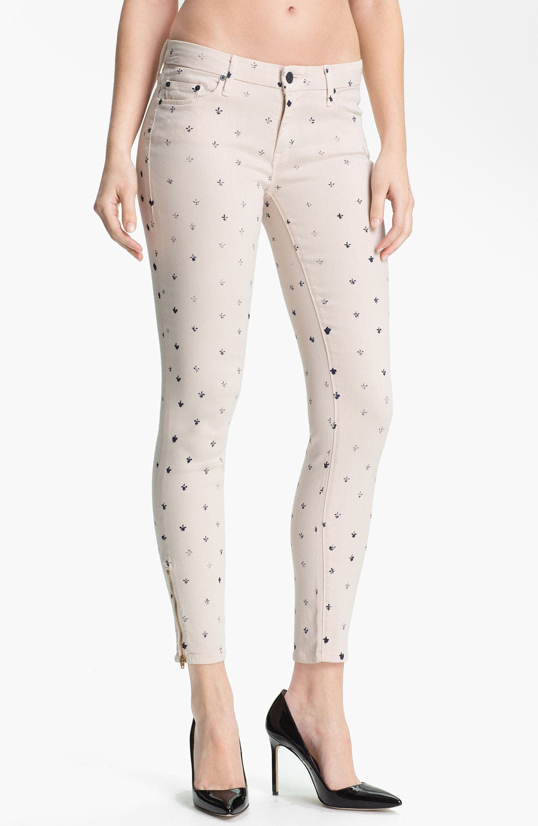 Main Image - MOTHER 'The Looker' Print Ankle Zip Skinny Jeans (Lapis)