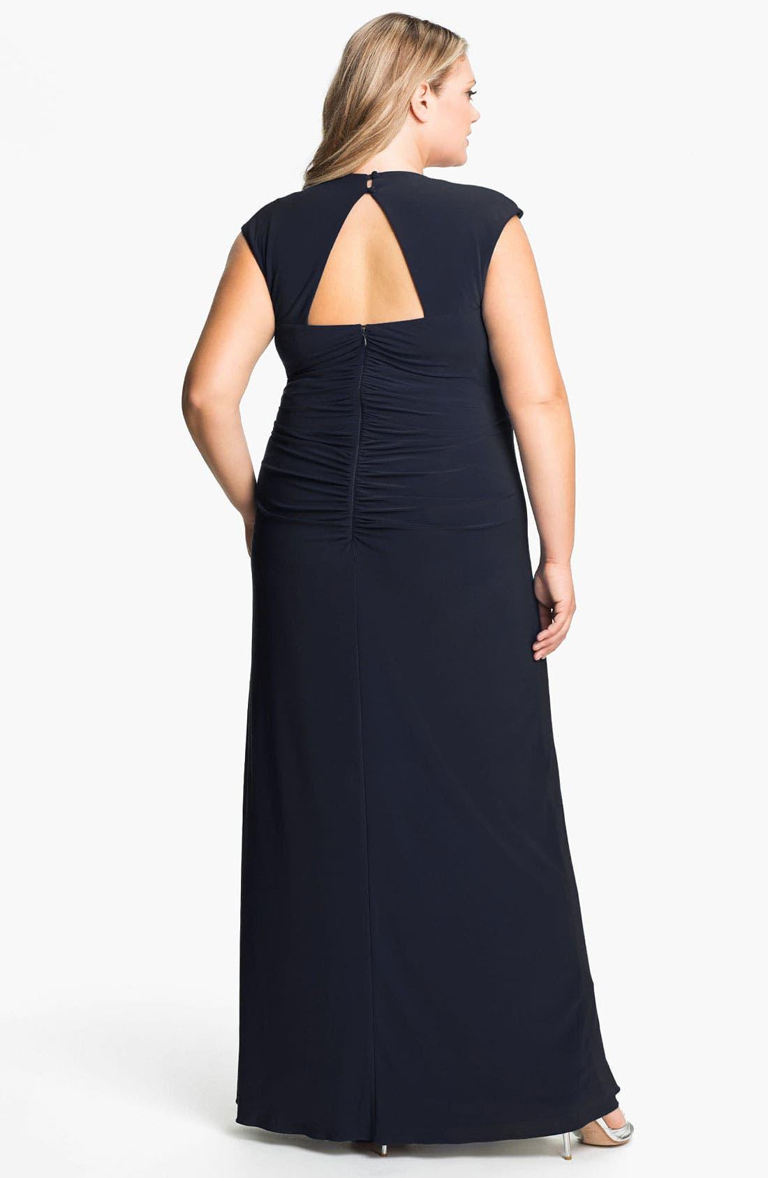 Alternate Image 2  - Xscape Cap Sleeve Draped Mesh Gown (Plus)