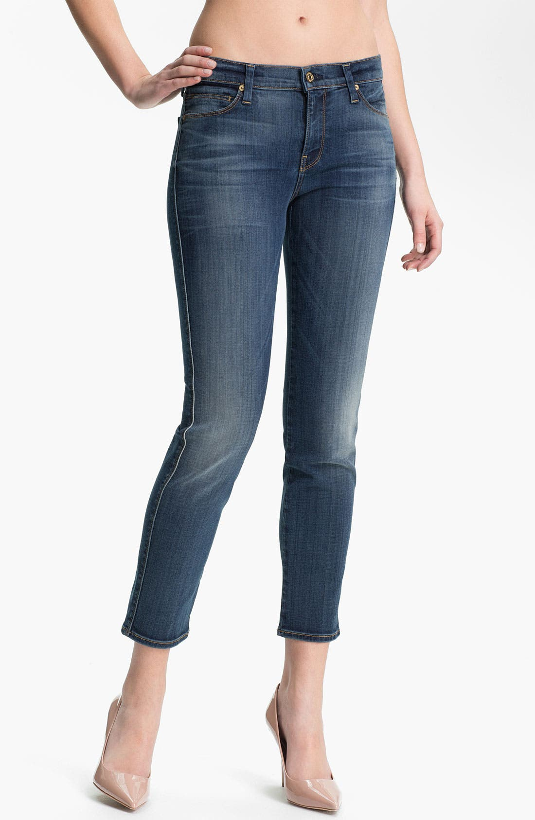 Main Image - 7 For All Mankind® Crop Skinny Stretch Jeans (Slim Illusion Medium)
