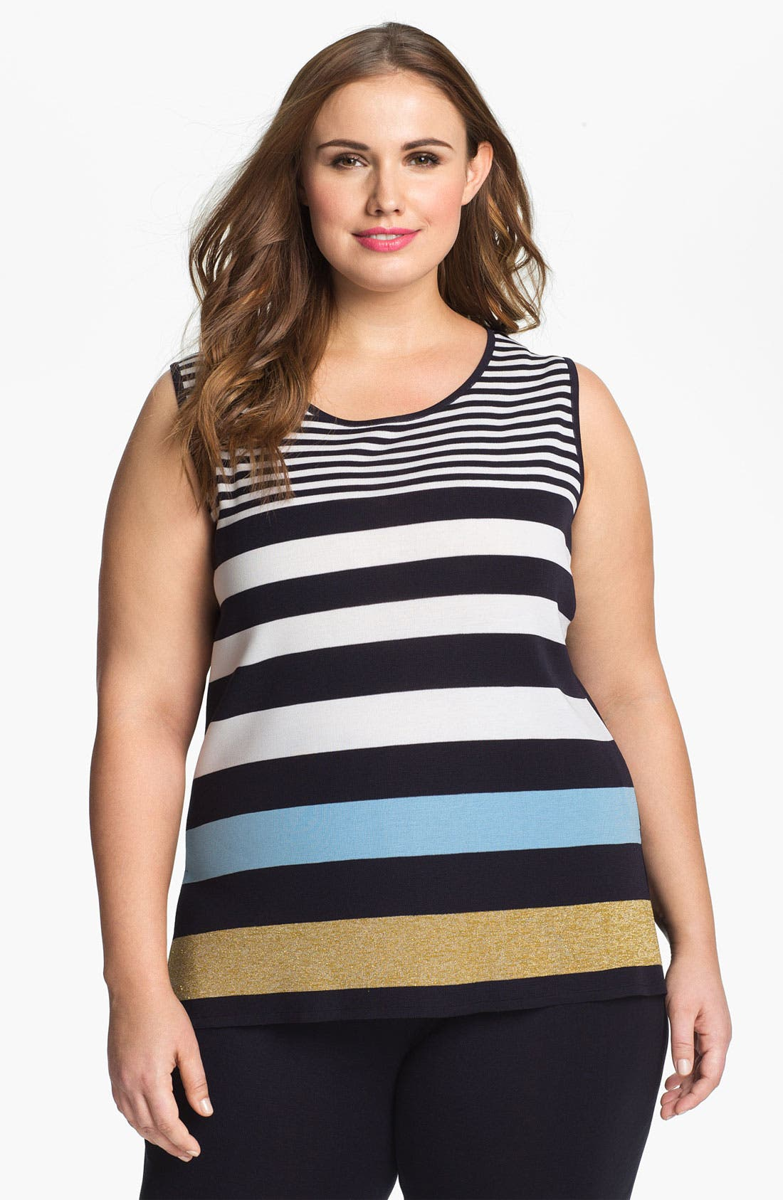 Alternate Image 1 Selected - Exclusively Misook 'Caroline' Stripe Tank (Plus Size)