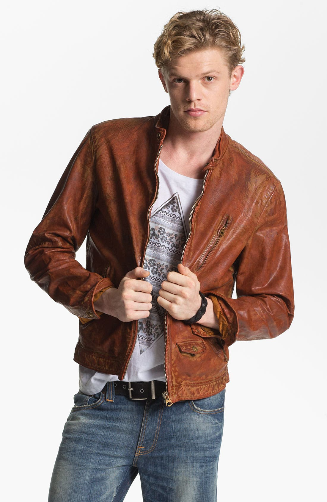 Main Image - Scotch & Soda Weathered Leather Moto Jacket