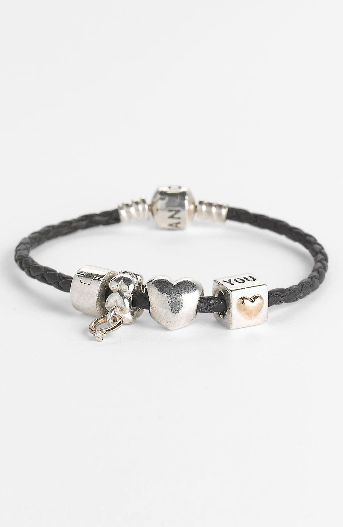 Alternate Image 3  - PANDORA Woven Leather Charm Bracelet