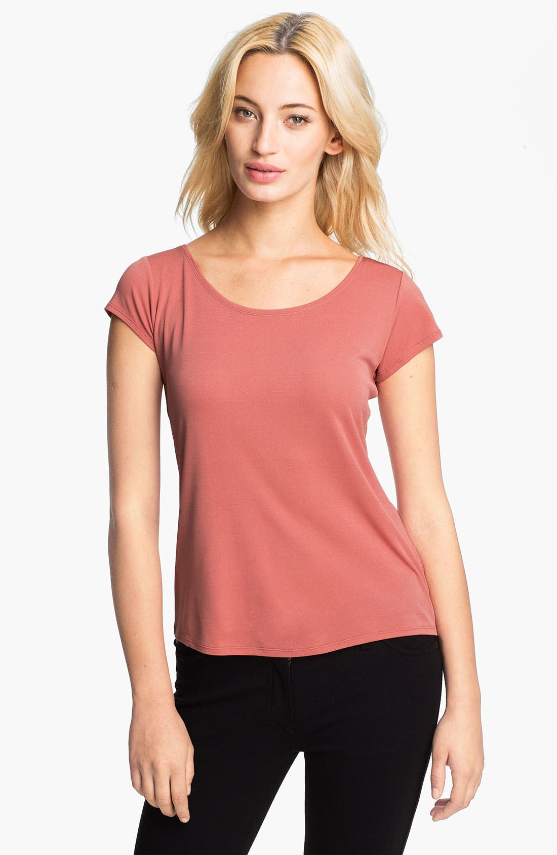 Alternate Image 1 Selected - Eileen Fisher Scoop Neck Silk Tee