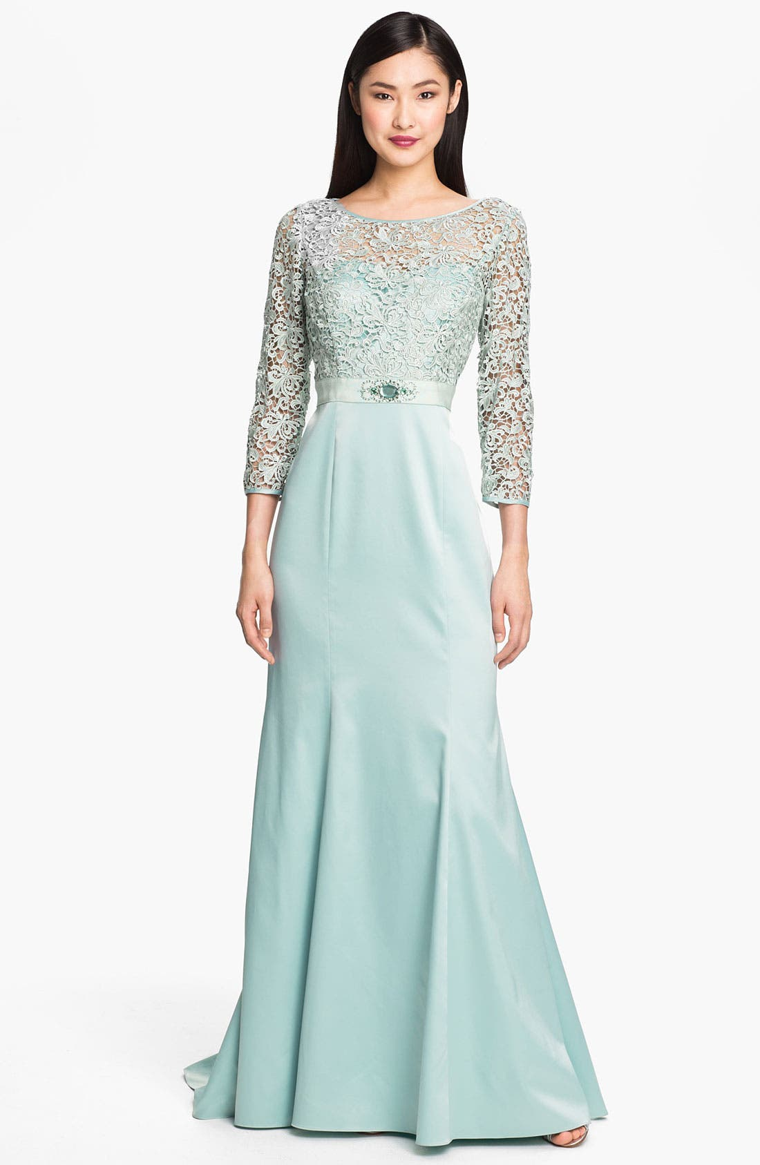 Alternate Image 1 Selected - Adrianna Papell Embellished Lace & Satin Trumpet Gown