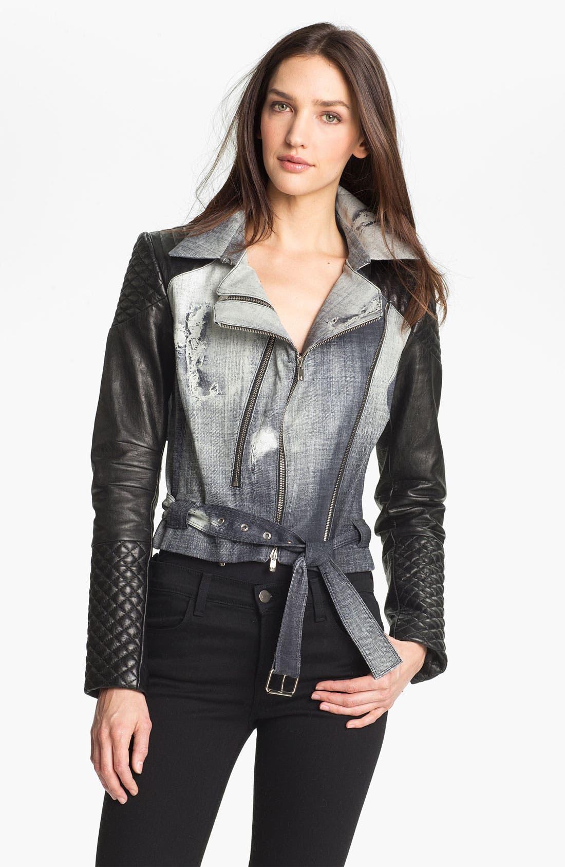 Main Image - Rebecca Minkoff 'Kiefer' Leather Sleeve Biker Jacket