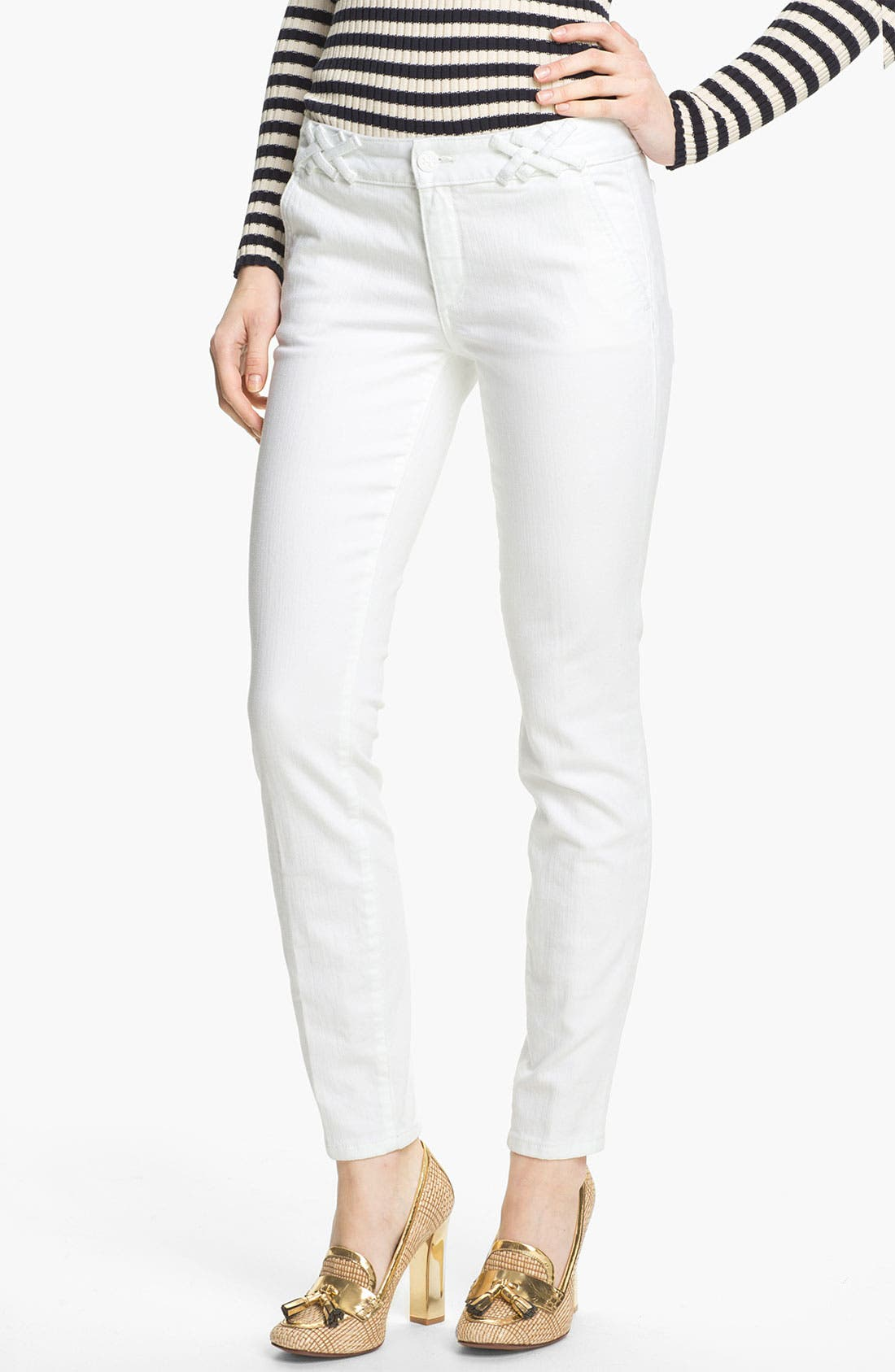 Main Image - Tory Burch 'Izzy' Ankle Skinny Jeans (Super Stonewashed White)