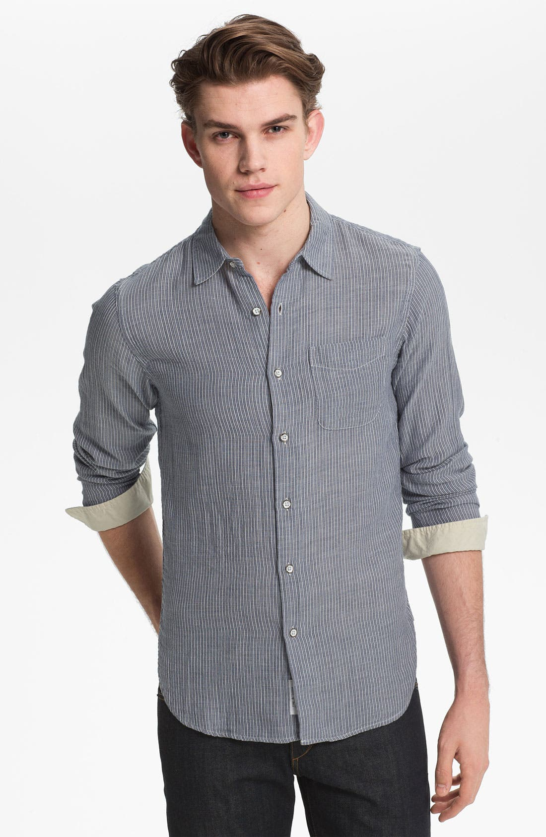 Main Image - rag & bone Stripe Herringbone Woven Shirt