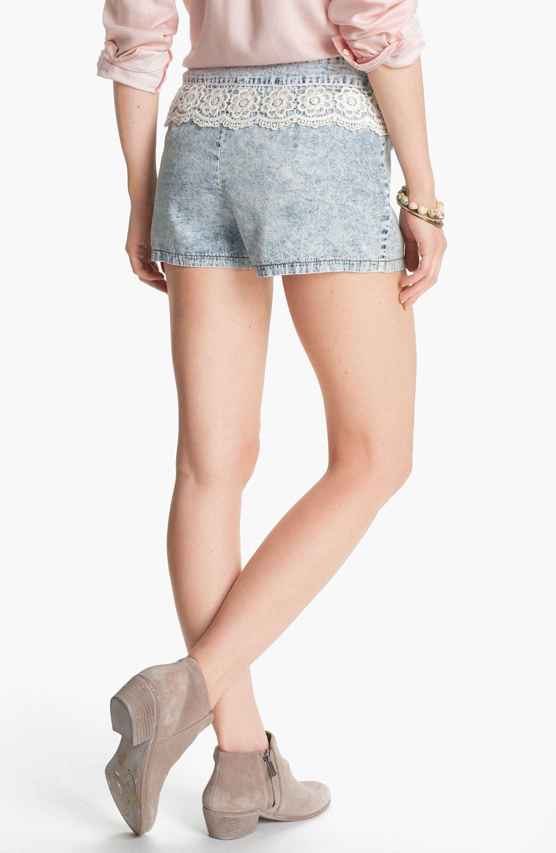 Alternate Image 2  - Mimi Chica Crochet Trim Chambray Shorts (Juniors)