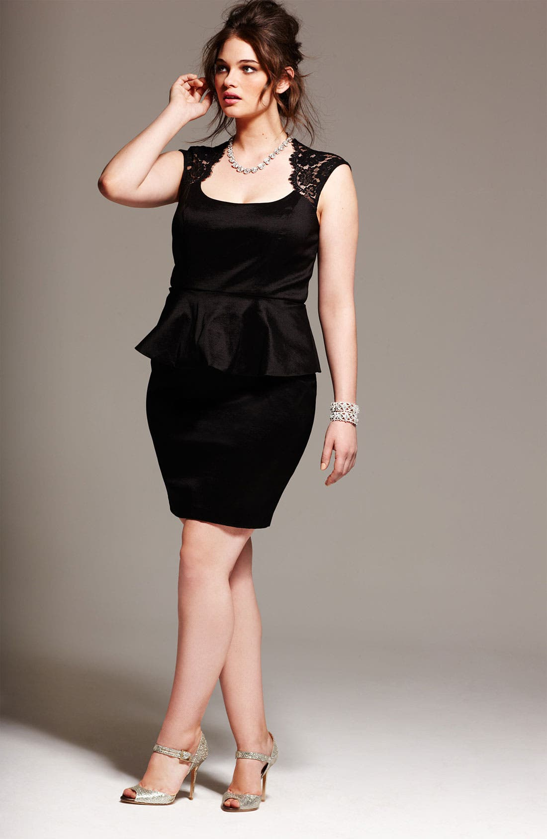 Alternate Image 4  - Xscape Lace Detail Peplum Dress (Plus Size)