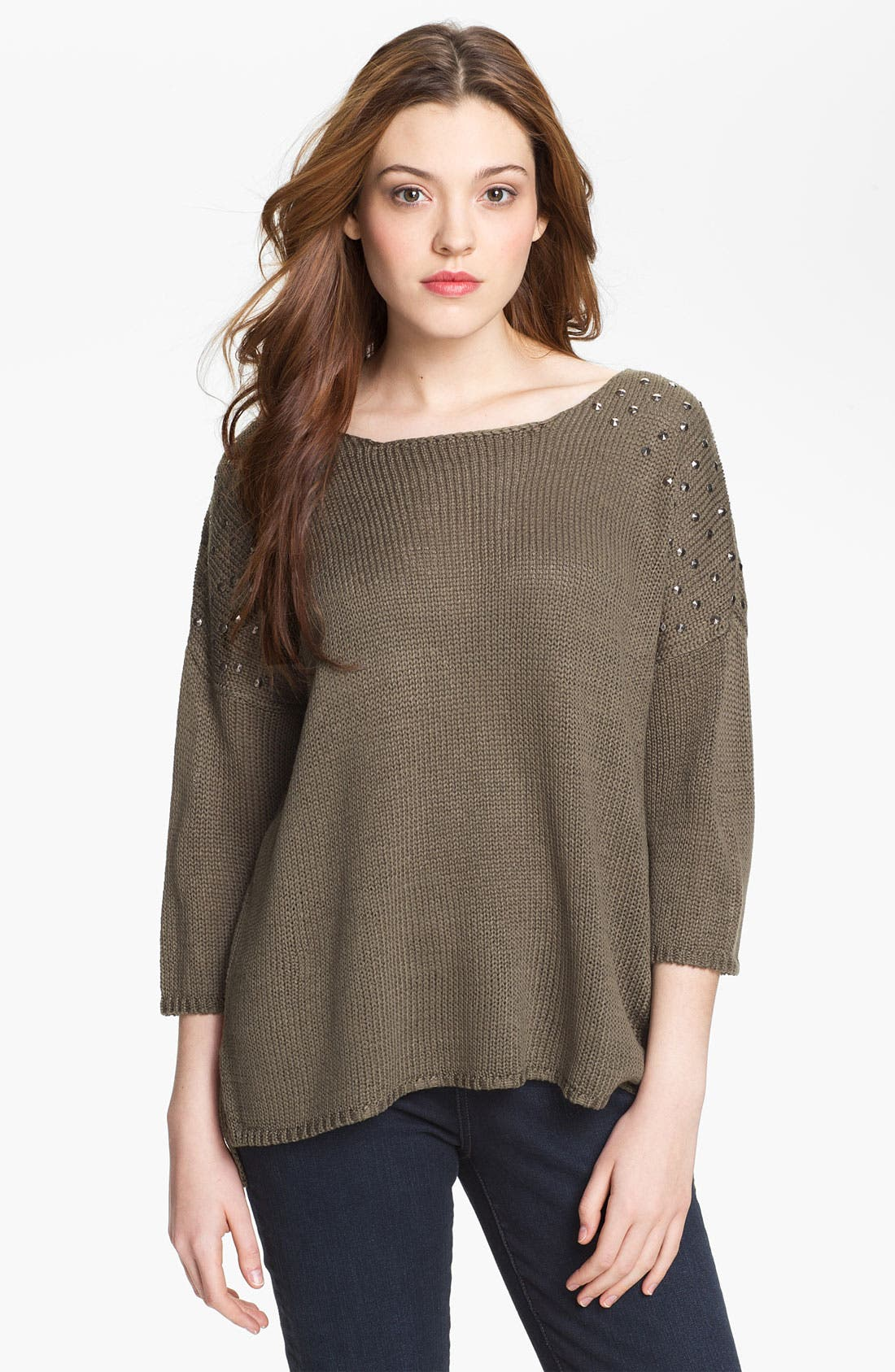 Alternate Image 1 Selected - Max & Mia Studded Shoulder Sweater