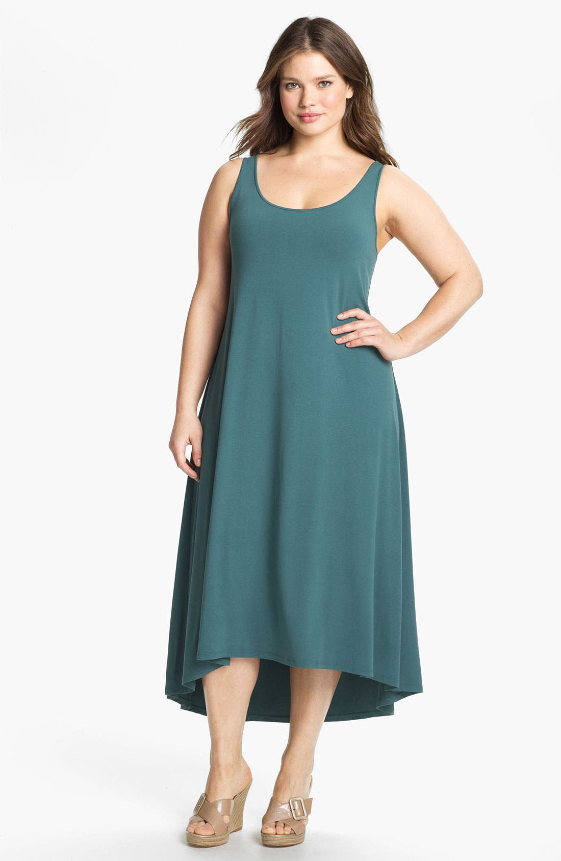 Alternate Image 1 Selected - Eileen Fisher Matte Jersey Tank Dress (Plus Size)